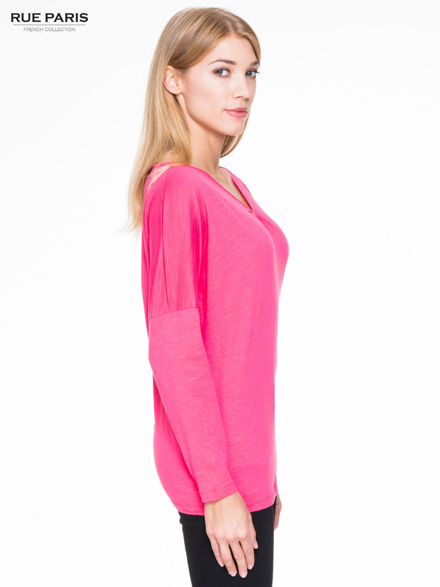 Koralowa bluzka z wiązanym oczkiem z tyłu                                  zdj.                                  3