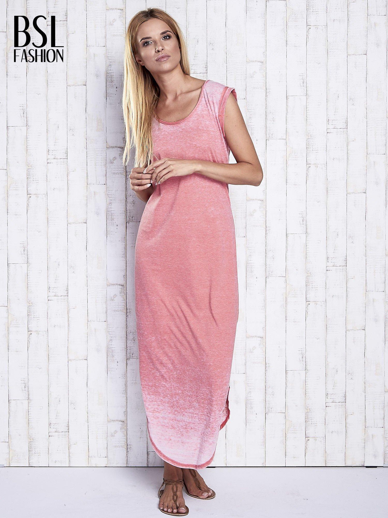 Koralowa długa sukienka acid wash                                   zdj.                                  4