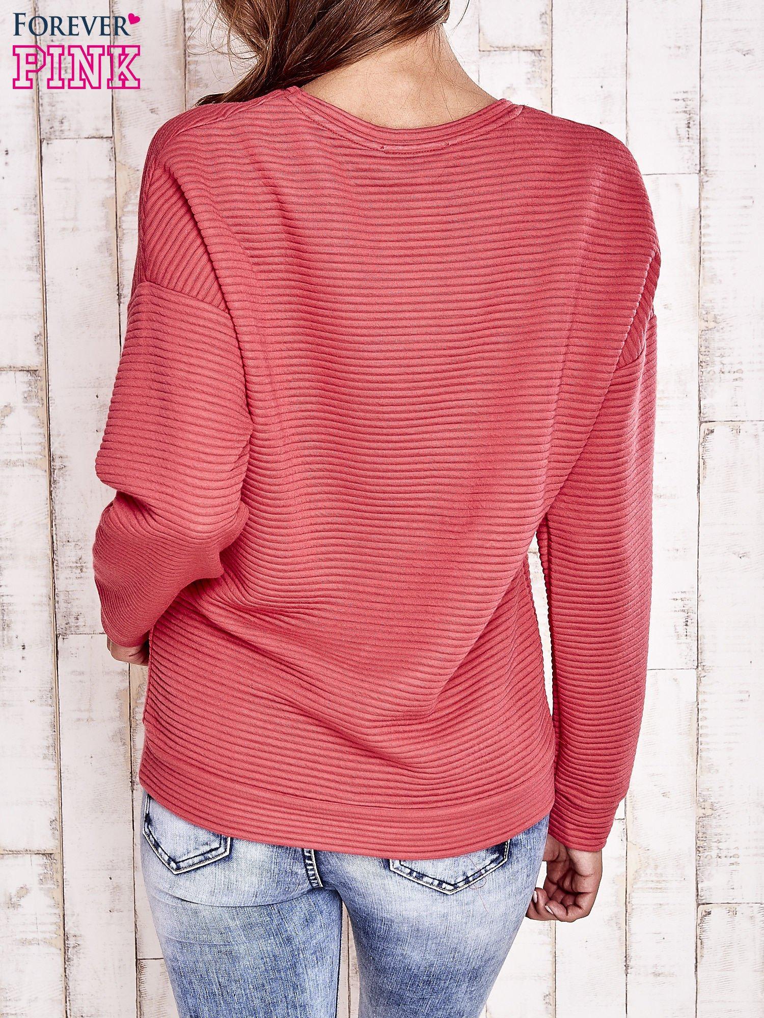 Koralowa fakturowana bluza                                  zdj.                                  2