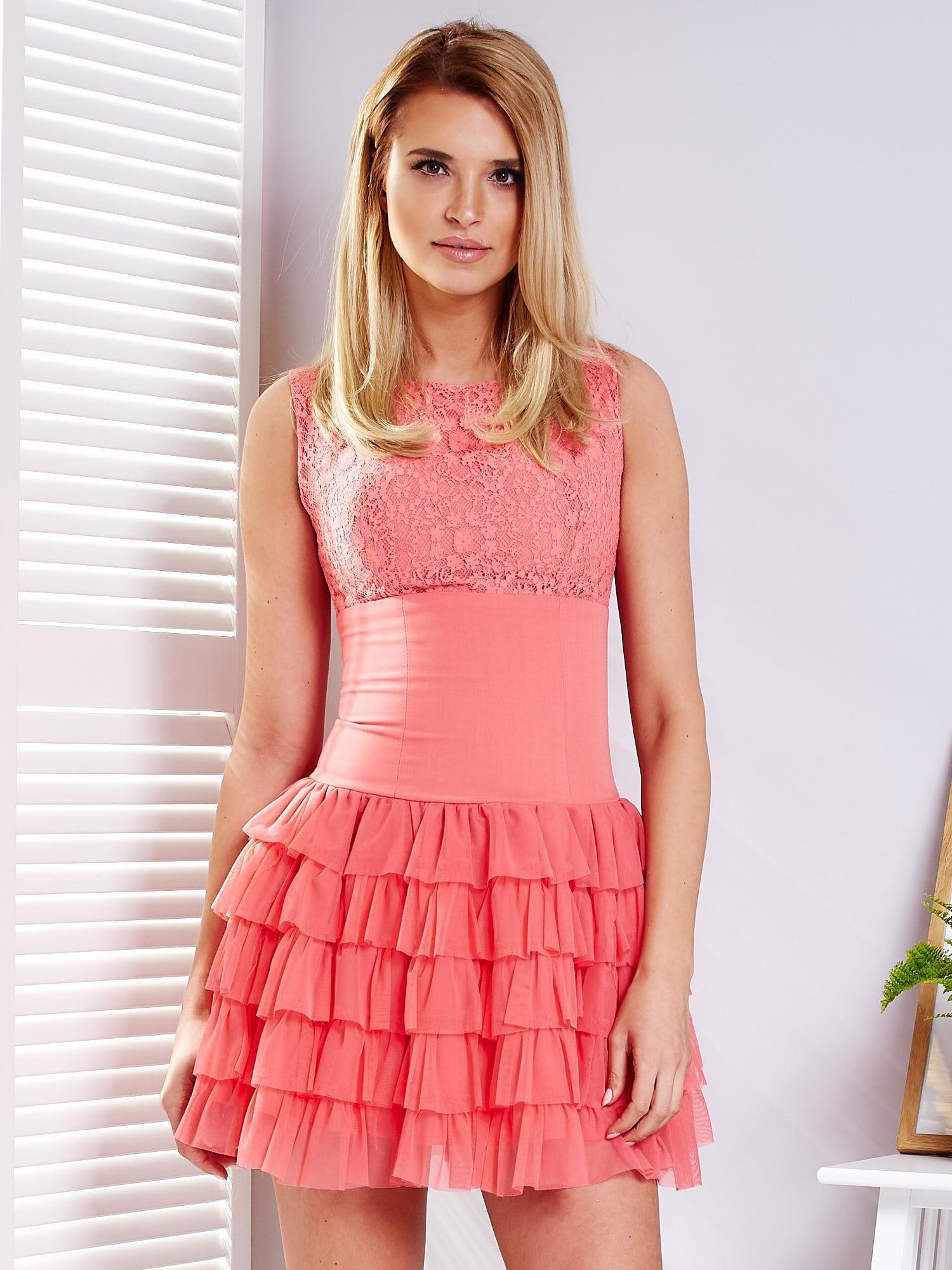 30a7810c1f Koralowa sukienka z tiulowymi falbankami - Sukienka koktajlowa ...