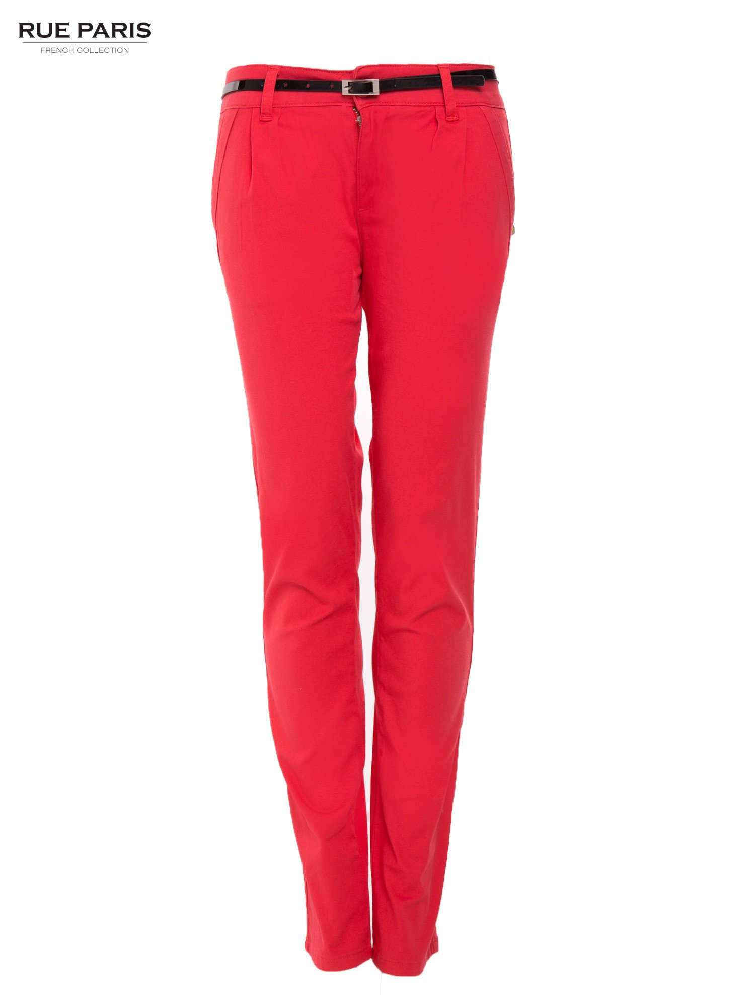 Koralowe proste spodnie z paskiem                                  zdj.                                  1