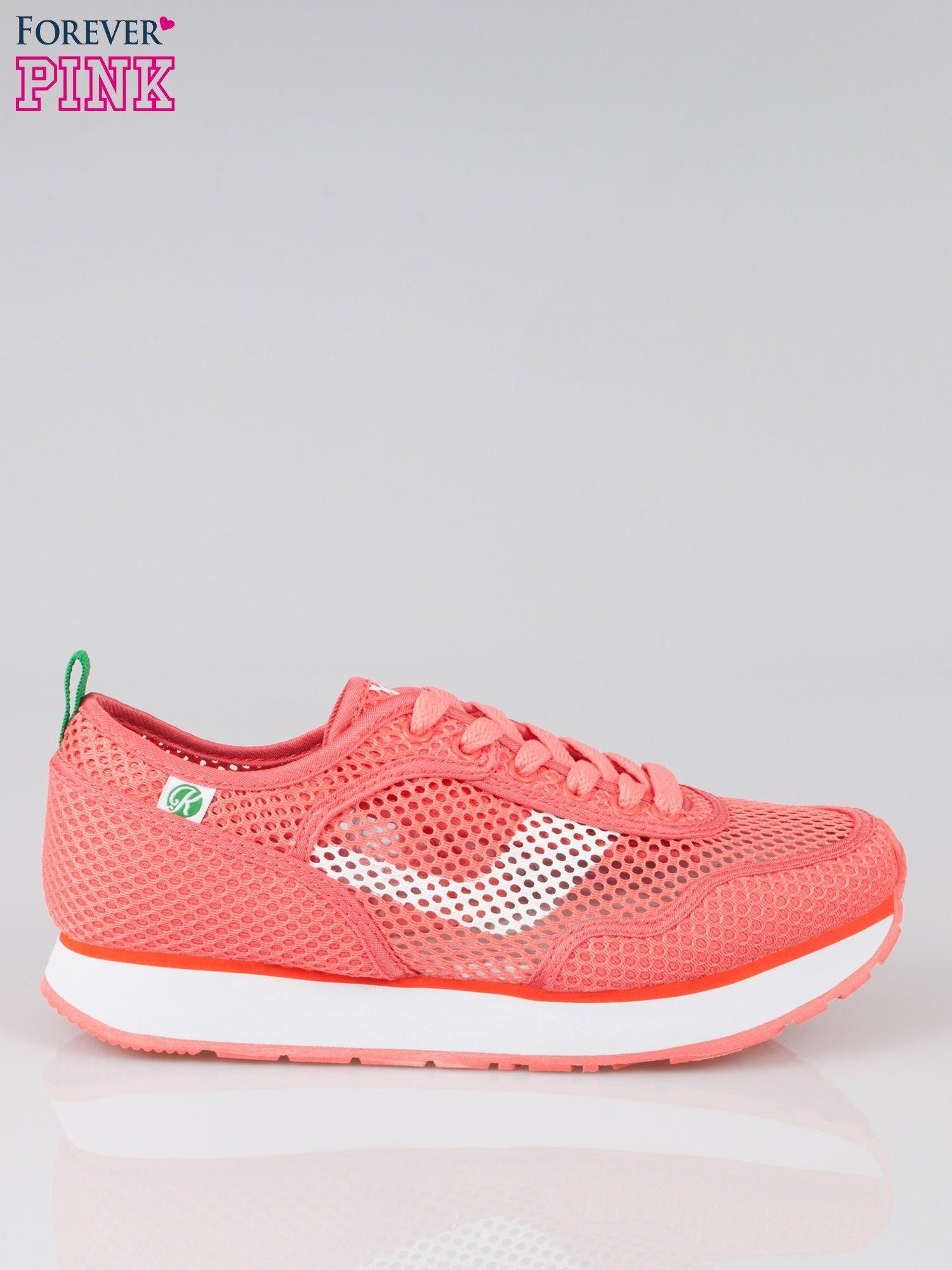 Koralowe siateczkowe buty sportowe textile High Level na platformie                                  zdj.                                  1