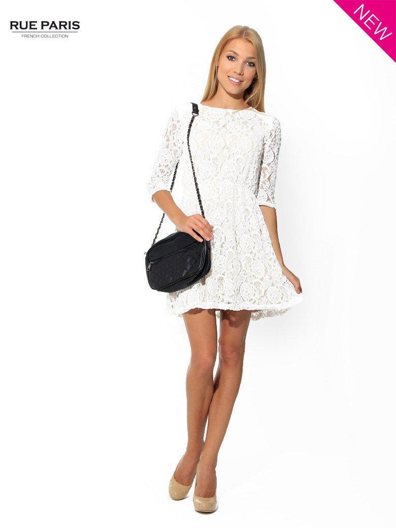 80f4ecef82 Koronkowa sukienka z rękawem 3 4 w kolorze ecru - Sukienka ...