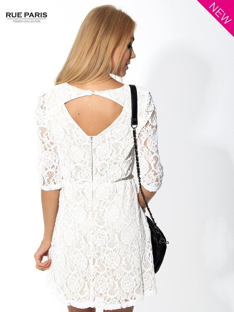 Koronkowa sukienka z rękawem 3/4 w kolorze ecru                                  zdj.                                  3