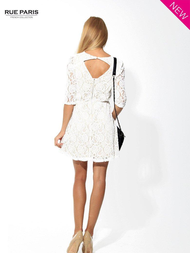 Koronkowa sukienka z rękawem 3/4 w kolorze ecru                                  zdj.                                  5