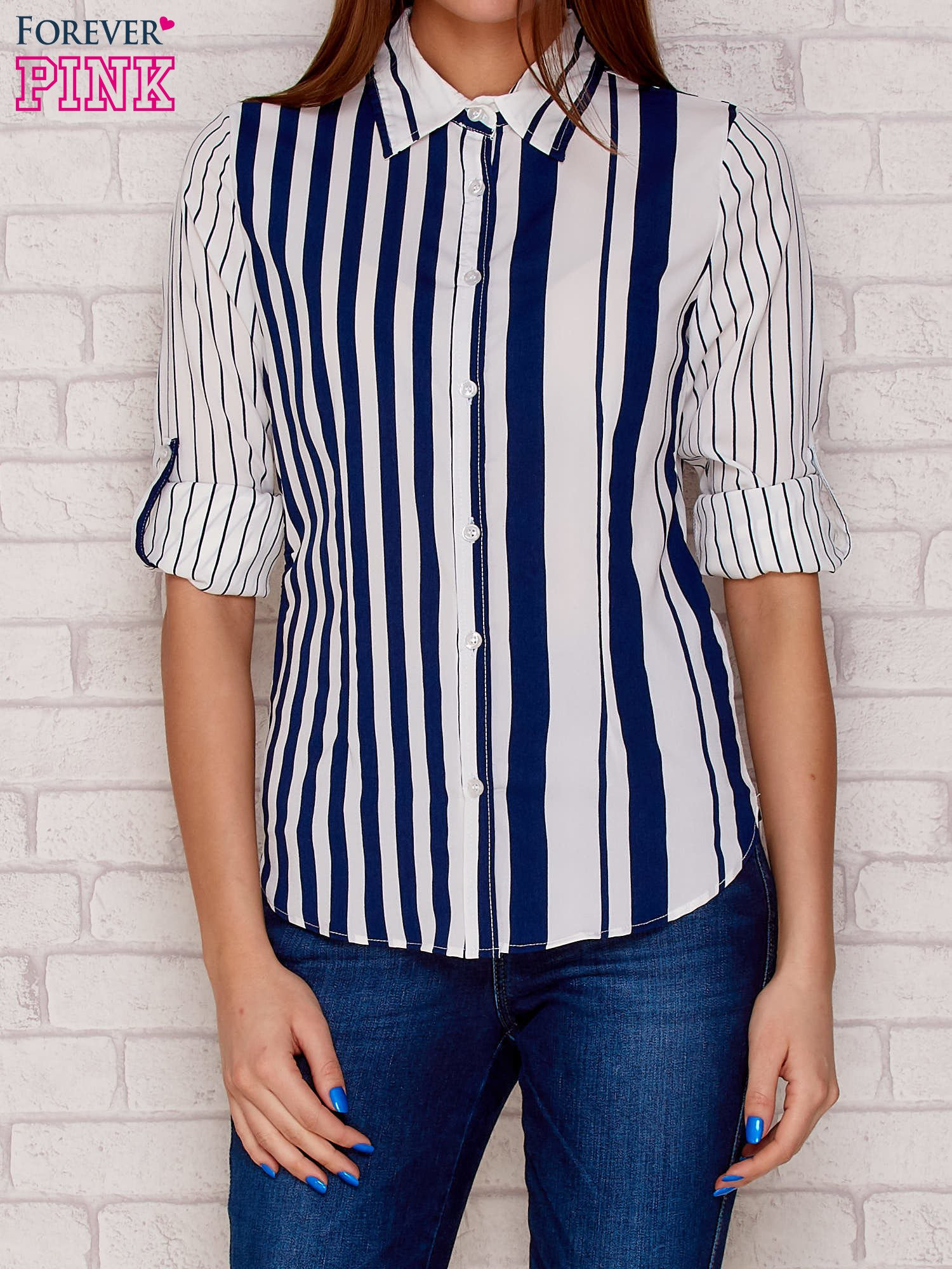 0341e31b9 Koszula damska w pionowe paski granatowa - Koszula w paski - sklep ...