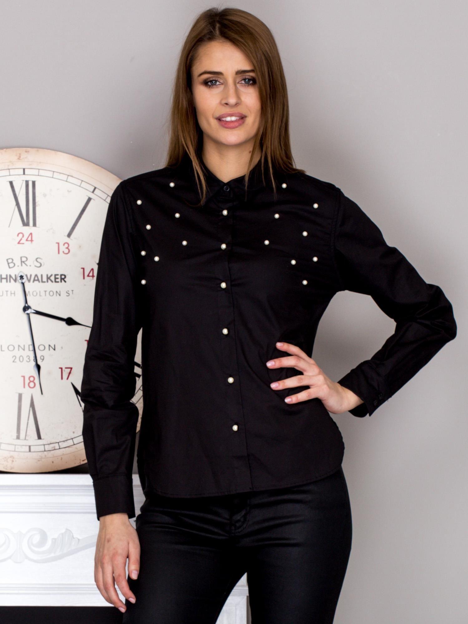 721ee25d50b3ff Koszula damska z perełkami czarna - Koszula z perełkami - sklep ...