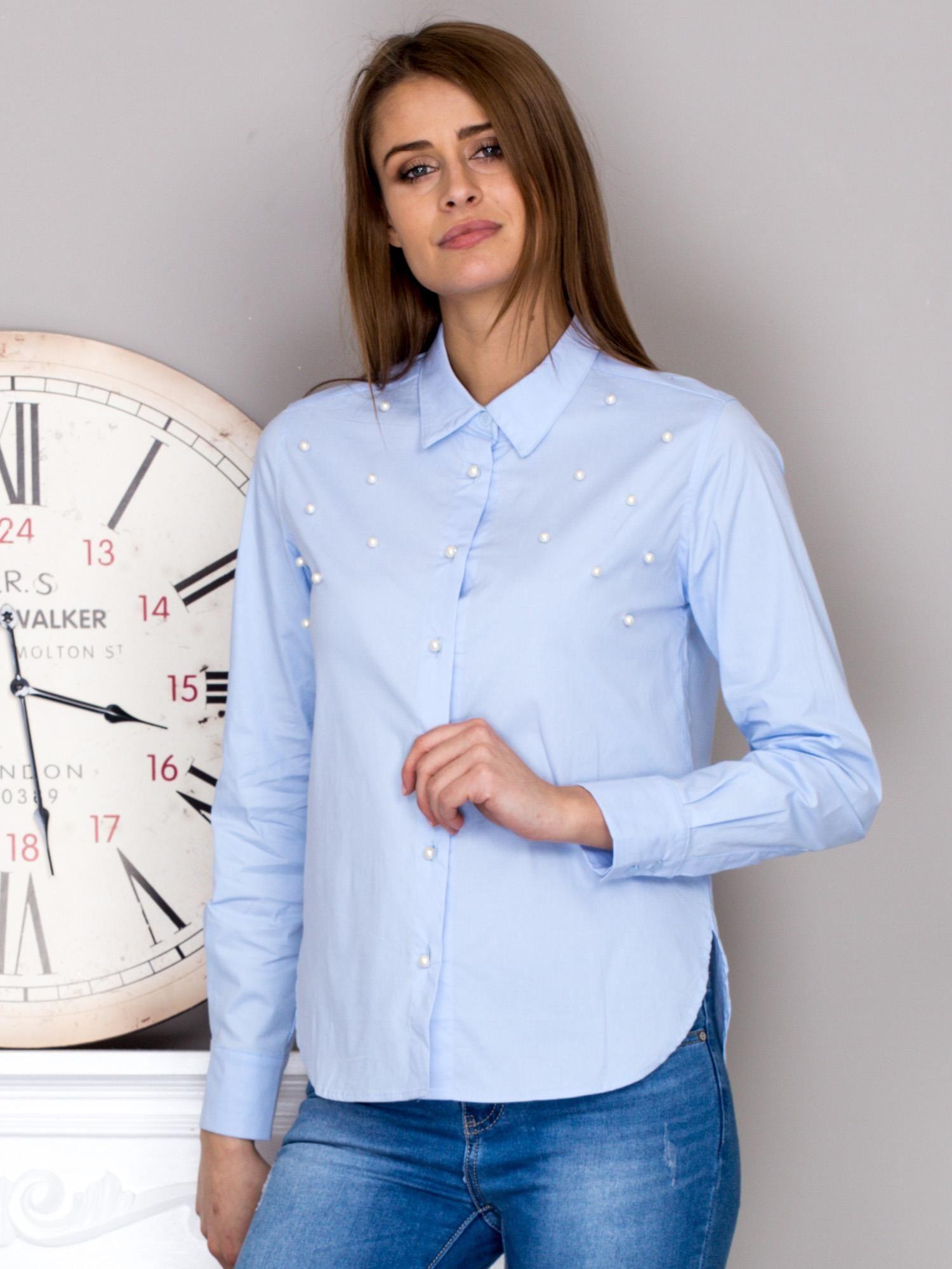 f3a15ad98310 Koszula damska z perełkami niebieska - Koszula z perełkami - sklep eButik.pl