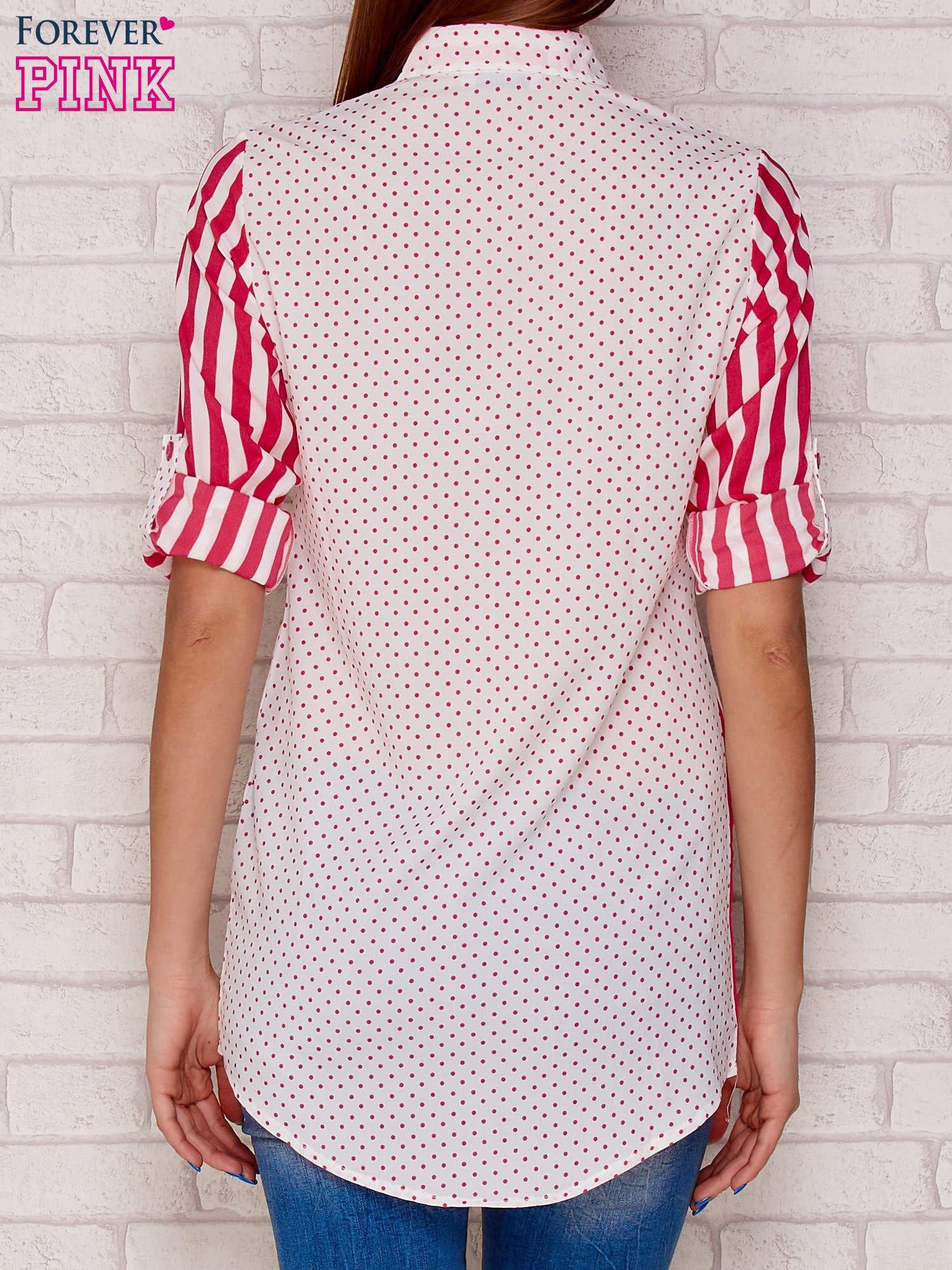 Koszula w paski i groszki fuksjowa
