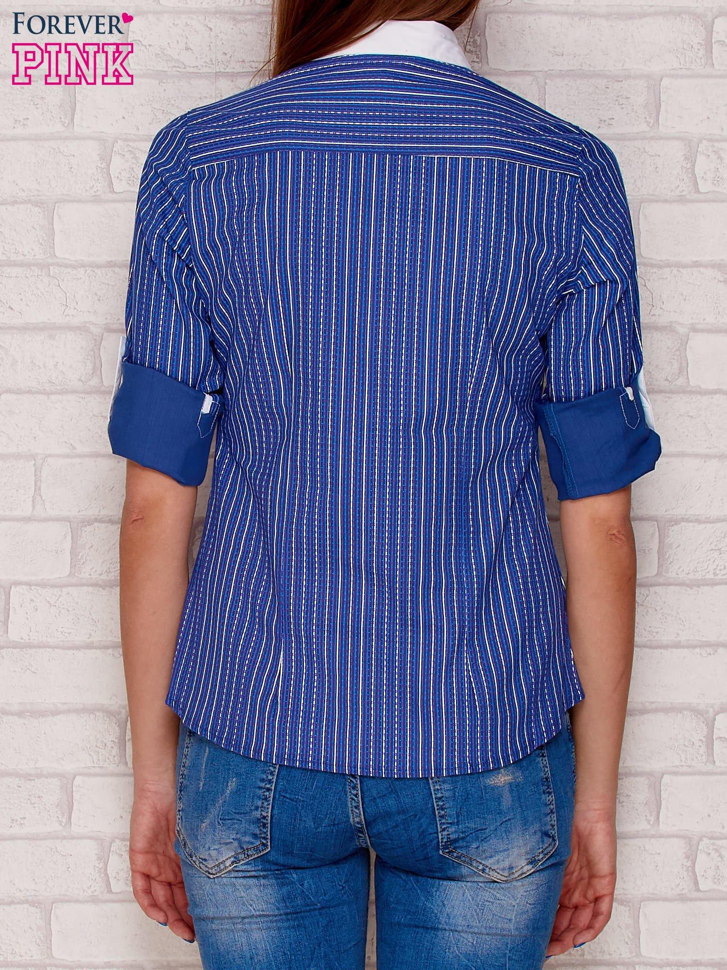 Koszula w paski i wzory ciemnoniebieska