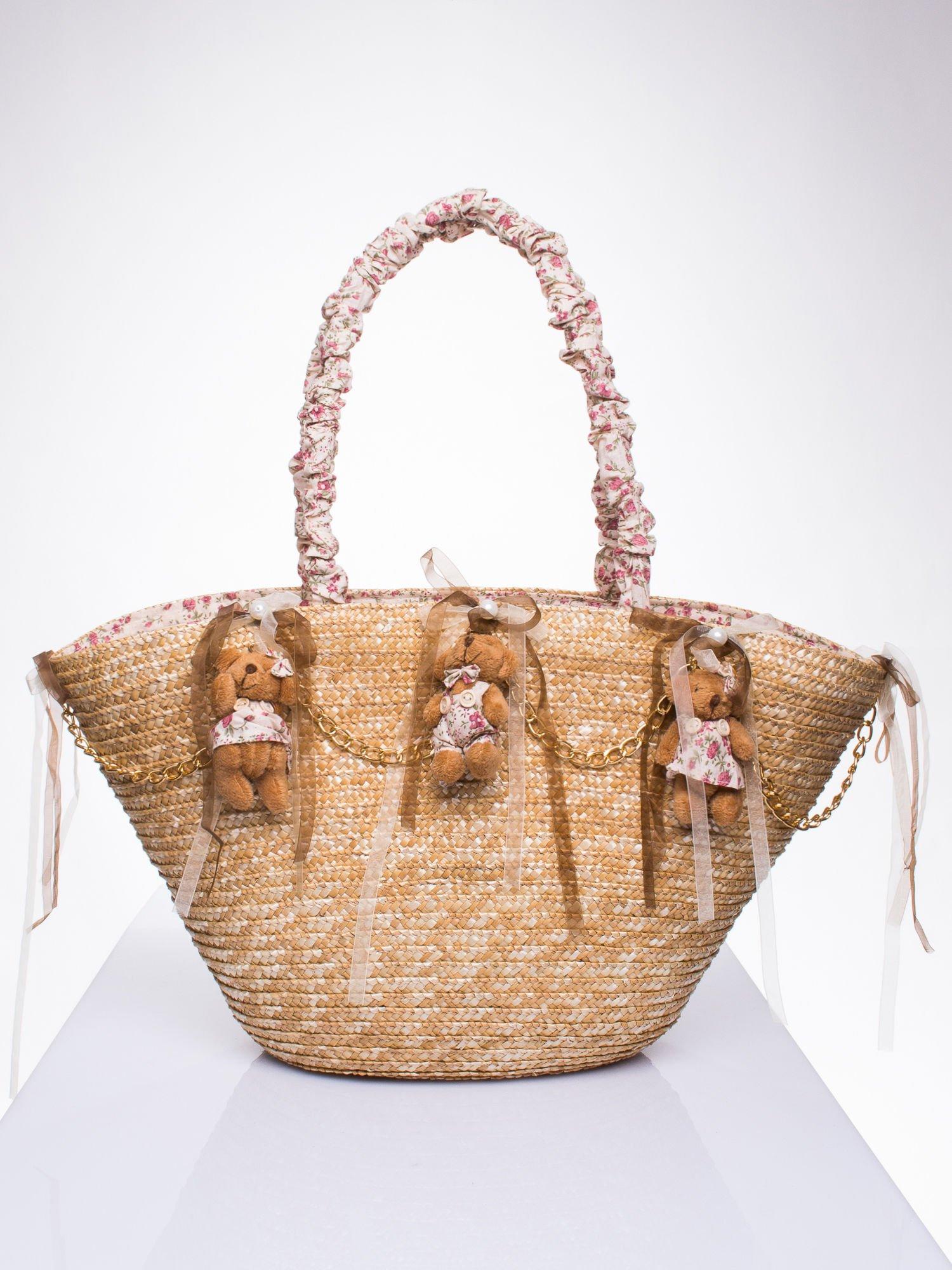 Kremowa torba koszyk plażowy w stylu romantic                                  zdj.                                  1
