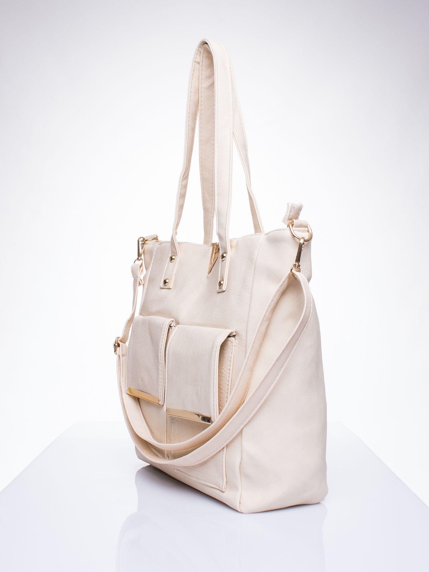 Kremowa torba shopper bag ze kieszeniami na klapki                                  zdj.                                  2