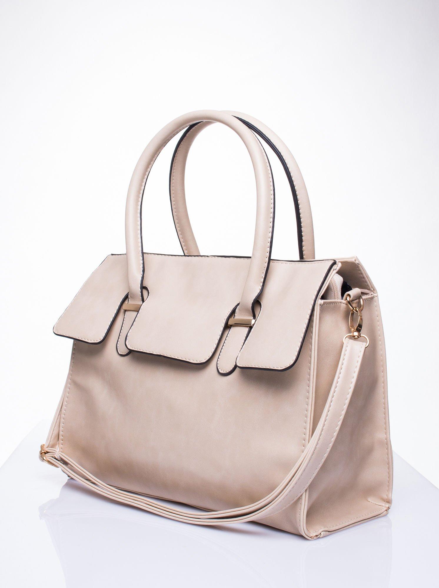 Kremowa torebka teczka z klapką                                  zdj.                                  3