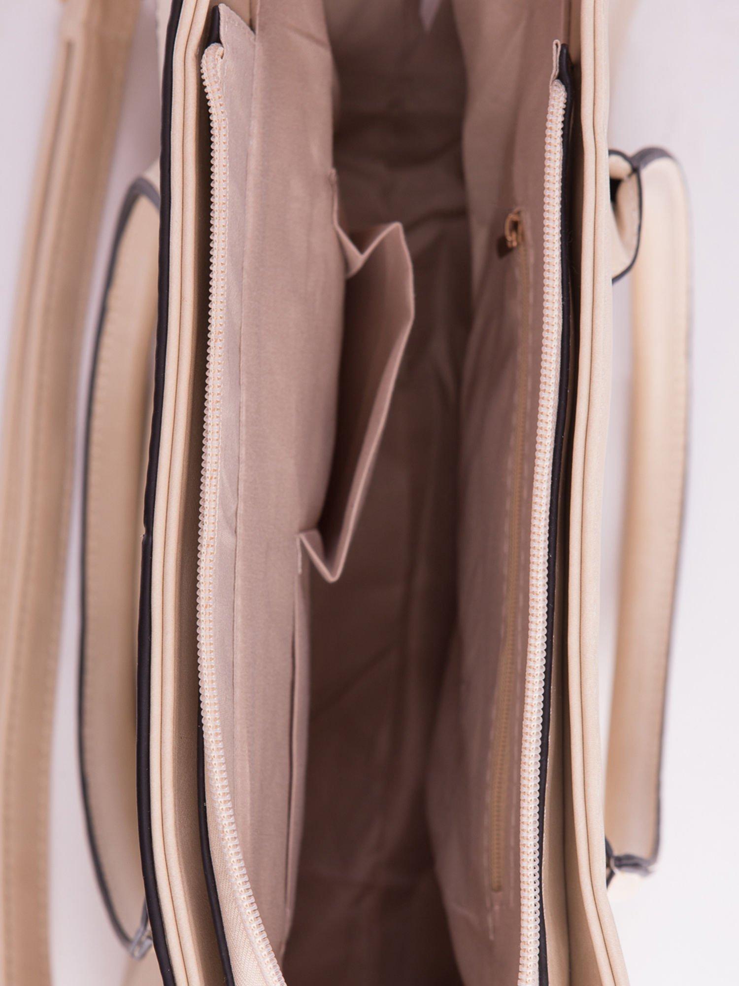 Kremowa torebka teczka z klapką                                  zdj.                                  5