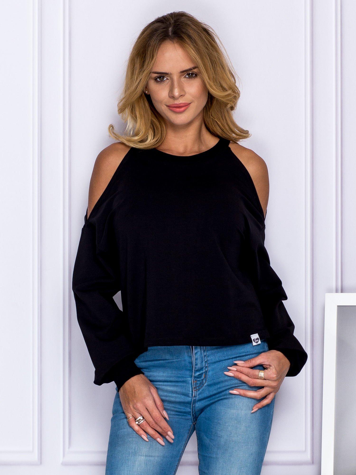a2f678805371 Krótka bluza z ramionami cut out czarna - Bluza bez kaptura - sklep ...