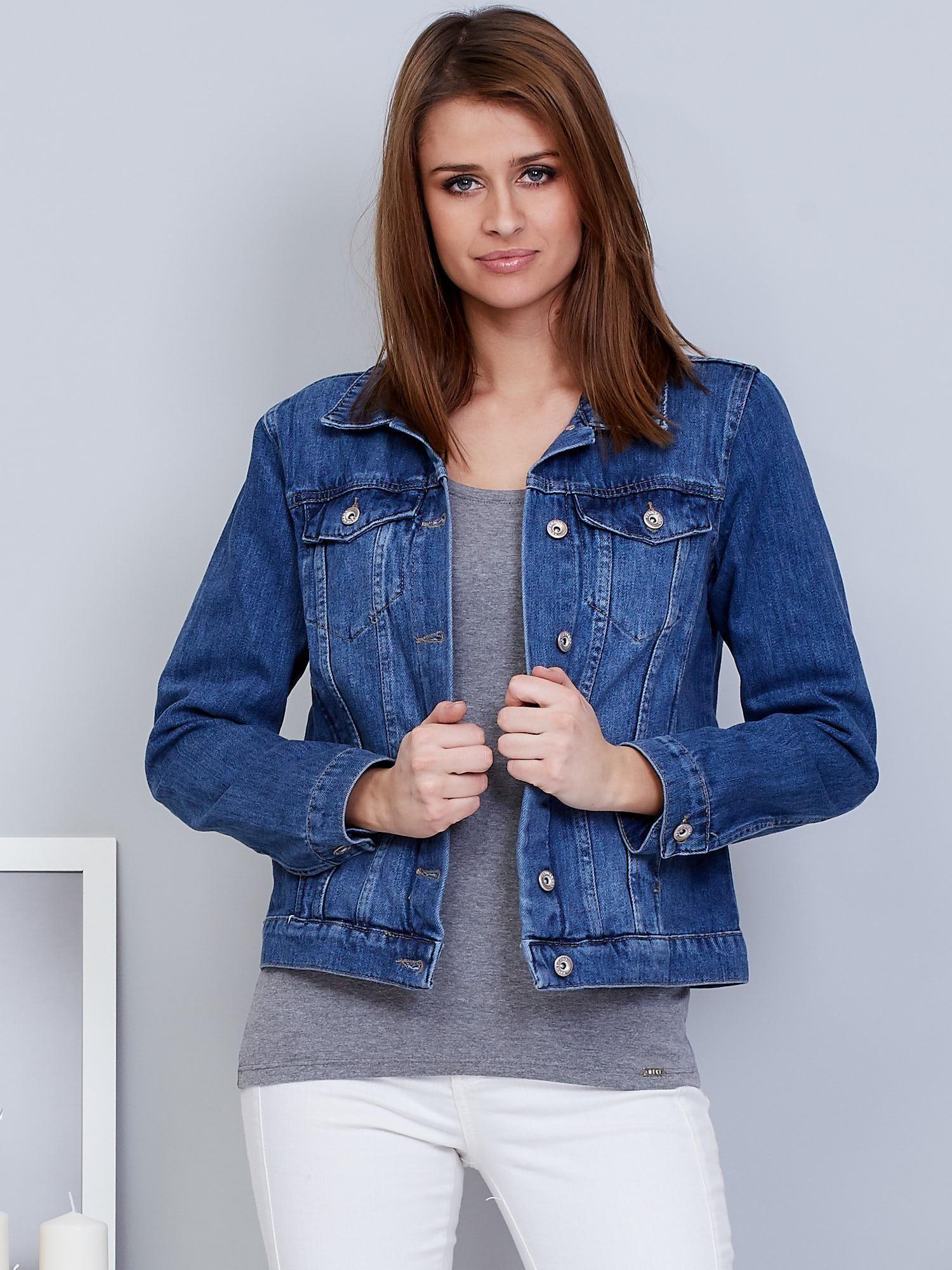 cf638ecdc0427 Kurtka damska jeansowa niebieska - Kurtka jeansowa - sklep eButik.pl