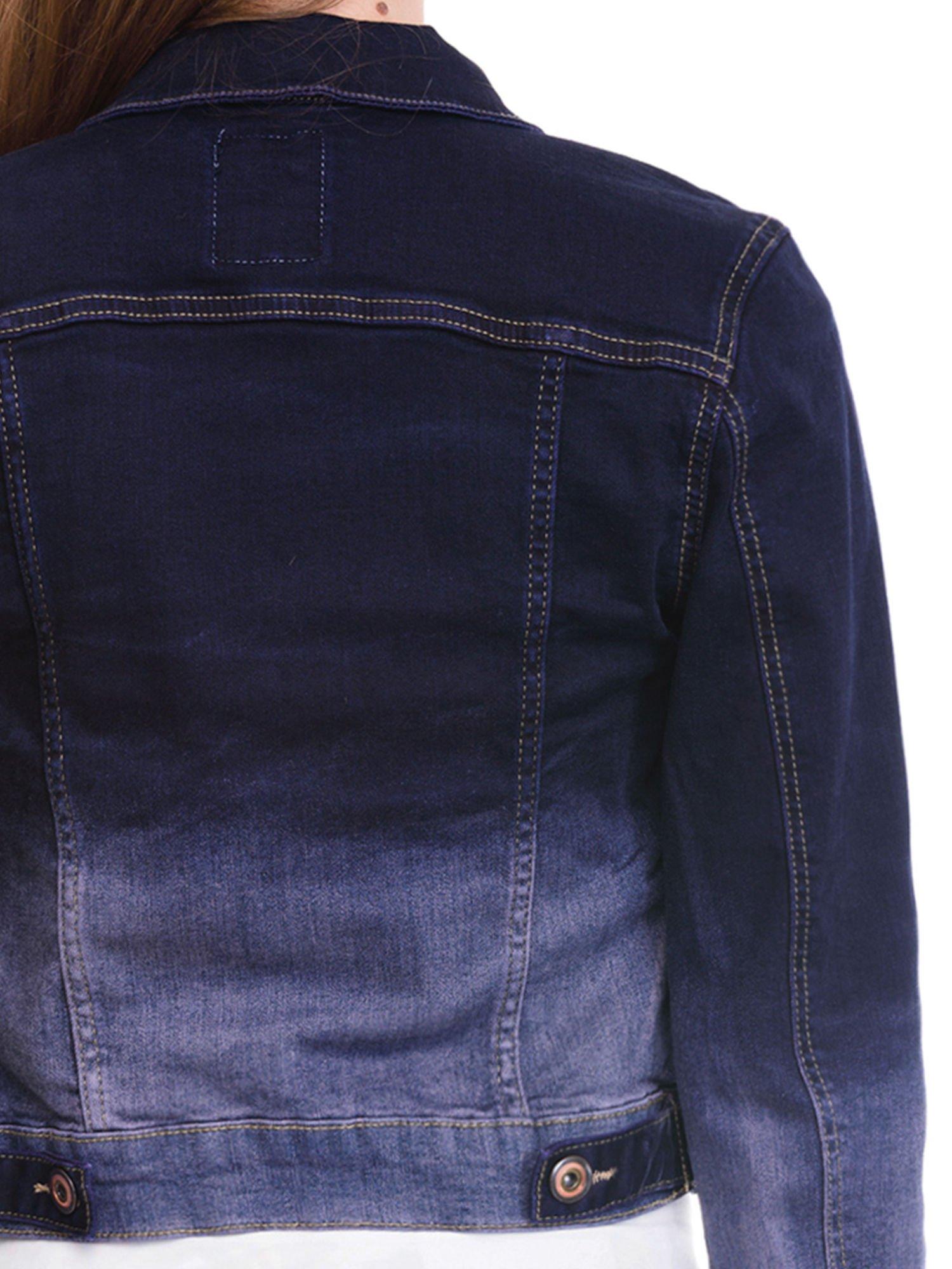 Kurtka jeansowa damska z efektem ombre w kolorze granatowym                                  zdj.                                  7