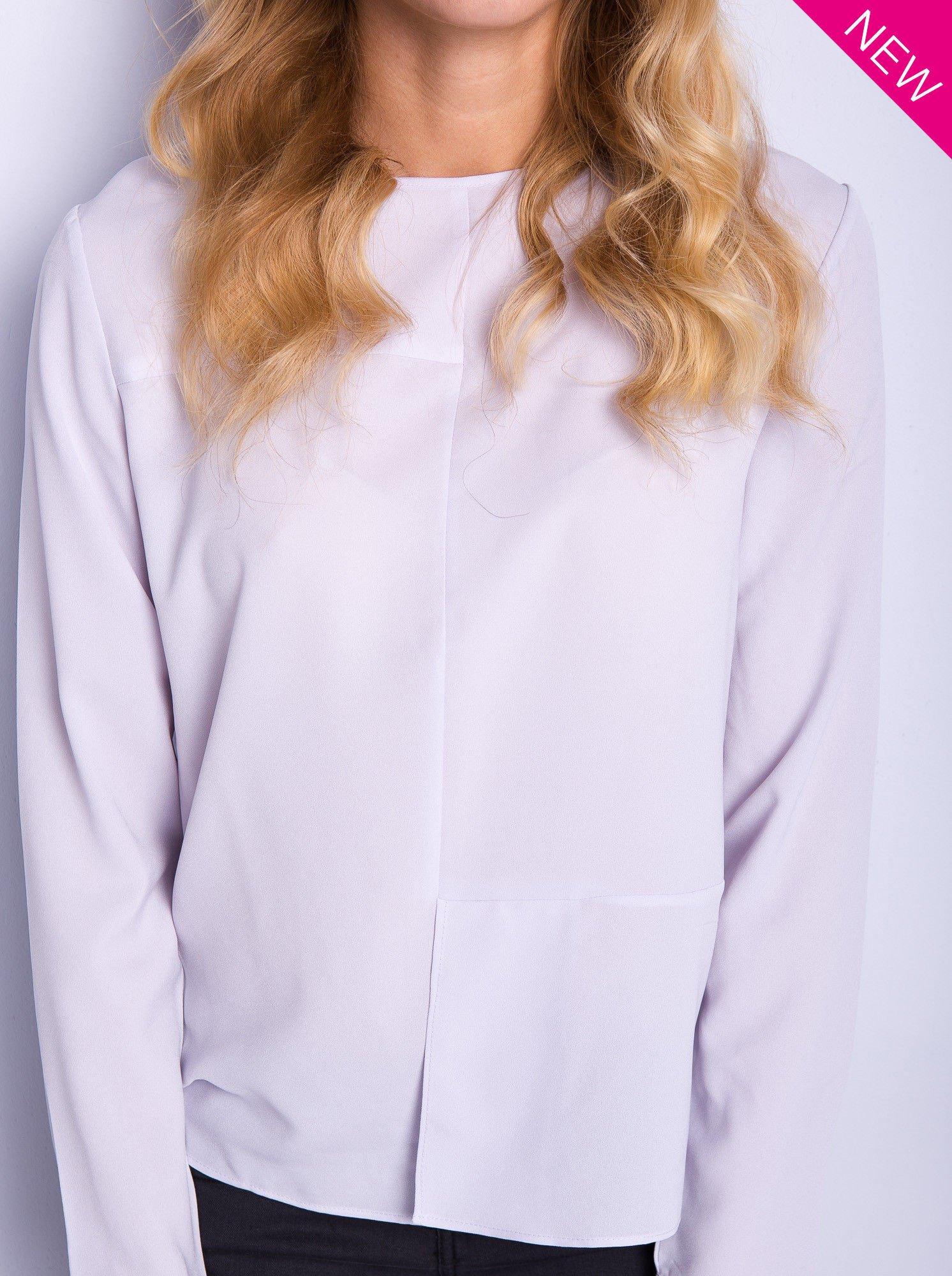Liliowa koszula z przeszyciami i łezką z tyłu                                  zdj.                                  3