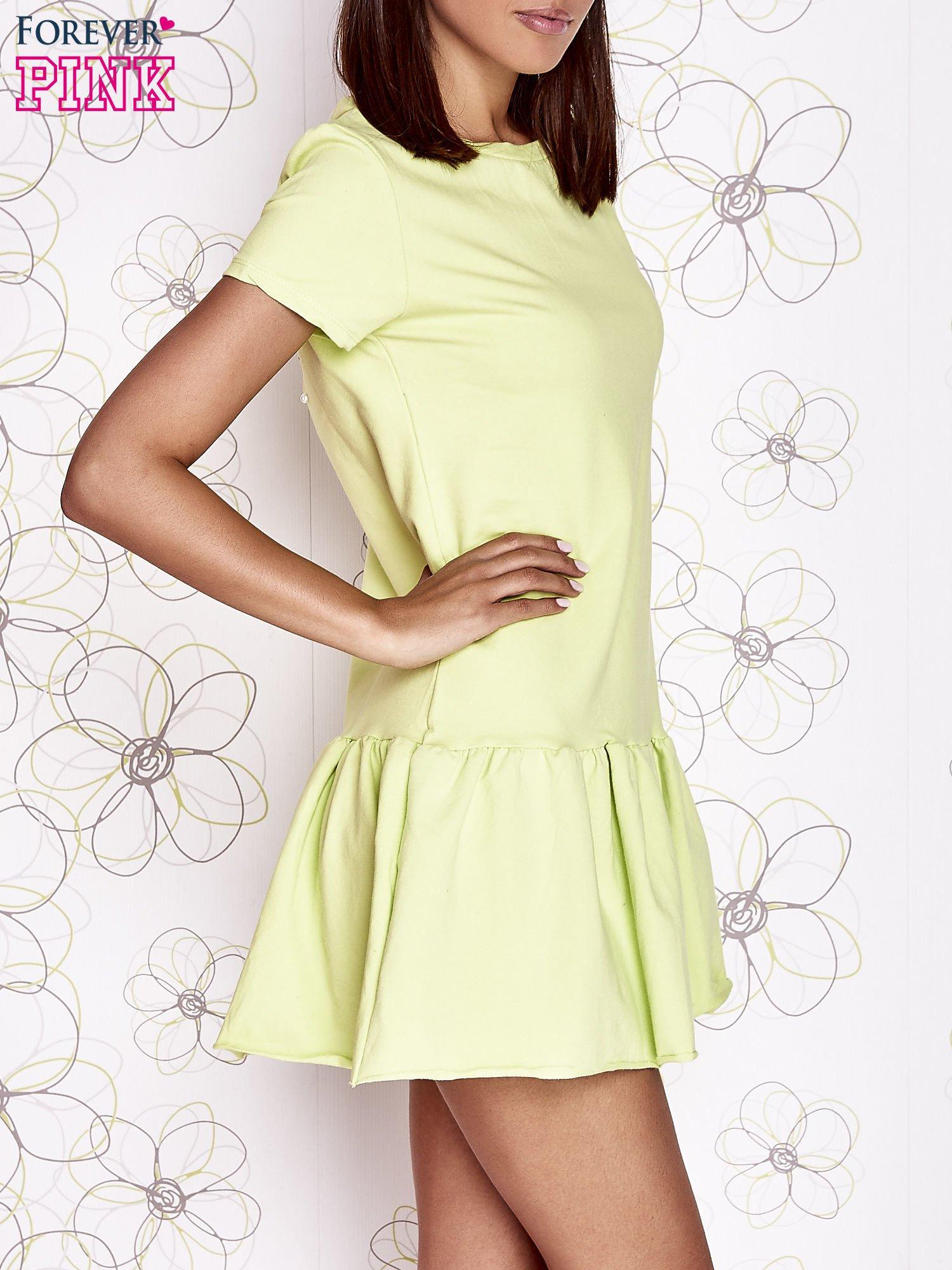 Limonkowa dresowa sukienka z wycięciem na plecach                                   zdj.                                  3