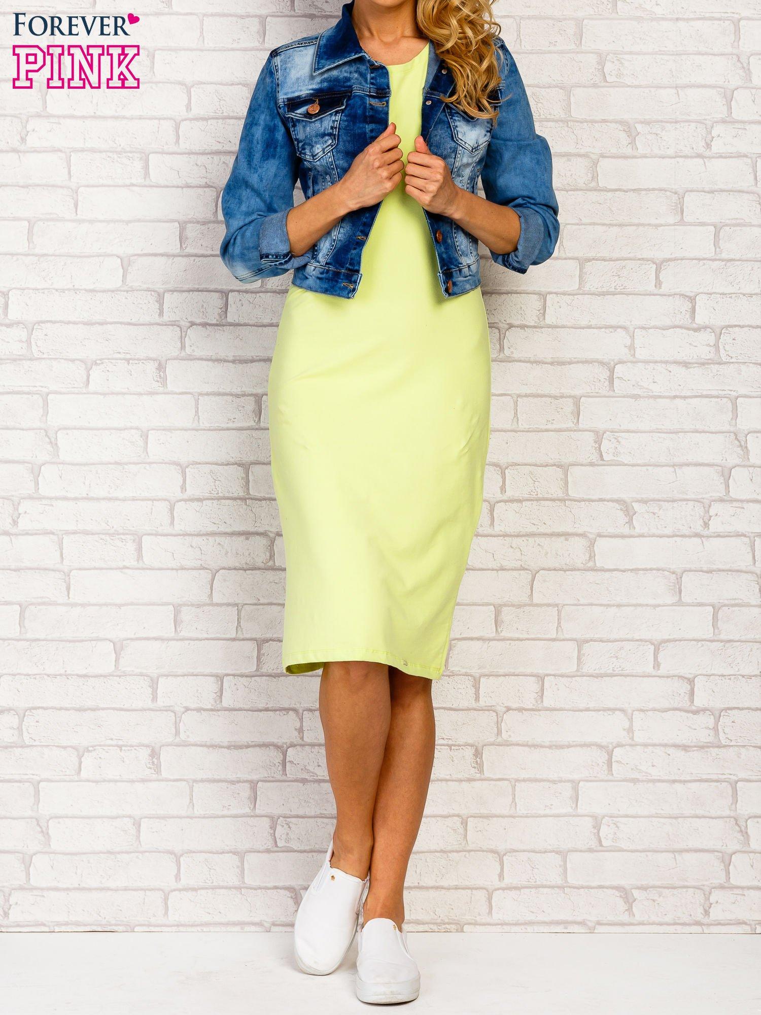 Limonkowa sukienka z rozcięciami na rękawach                                  zdj.                                  4