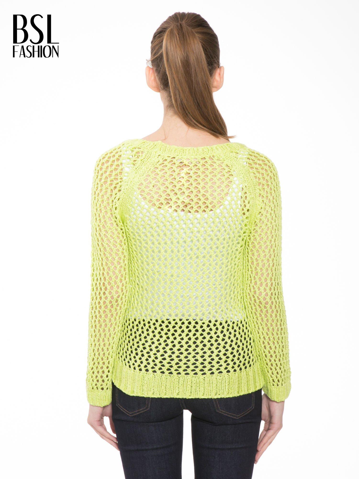 Limonkowy siatkowy sweter                                  zdj.                                  4