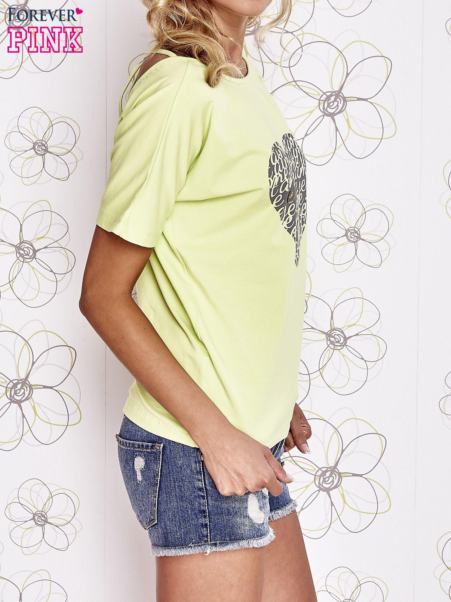 Limonkowy t-shirt z napisem JE T'AIME i dekoltem na plecach                                  zdj.                                  3