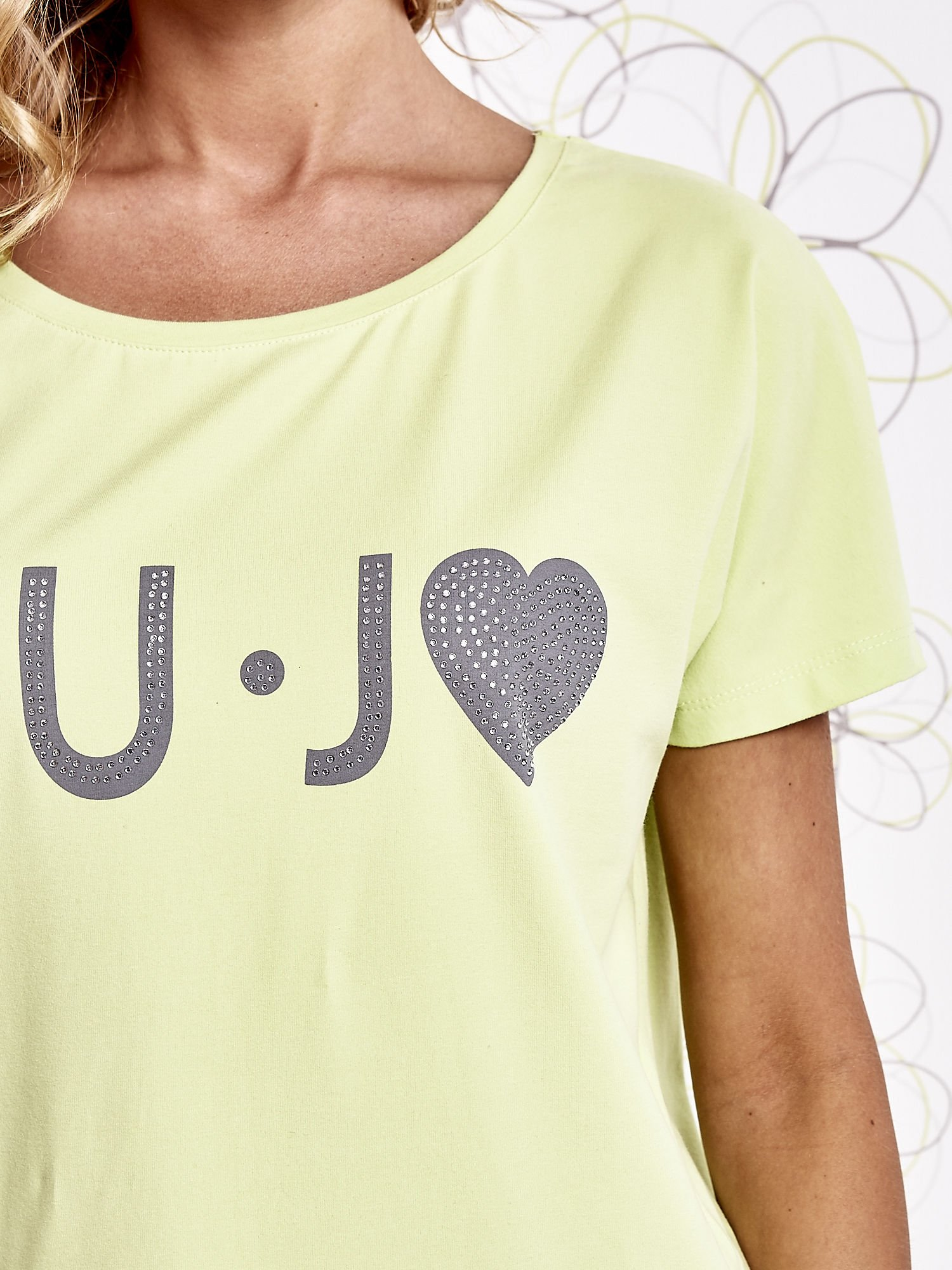 Limonkowy t-shirt z napisem LIU J❤                                  zdj.                                  5