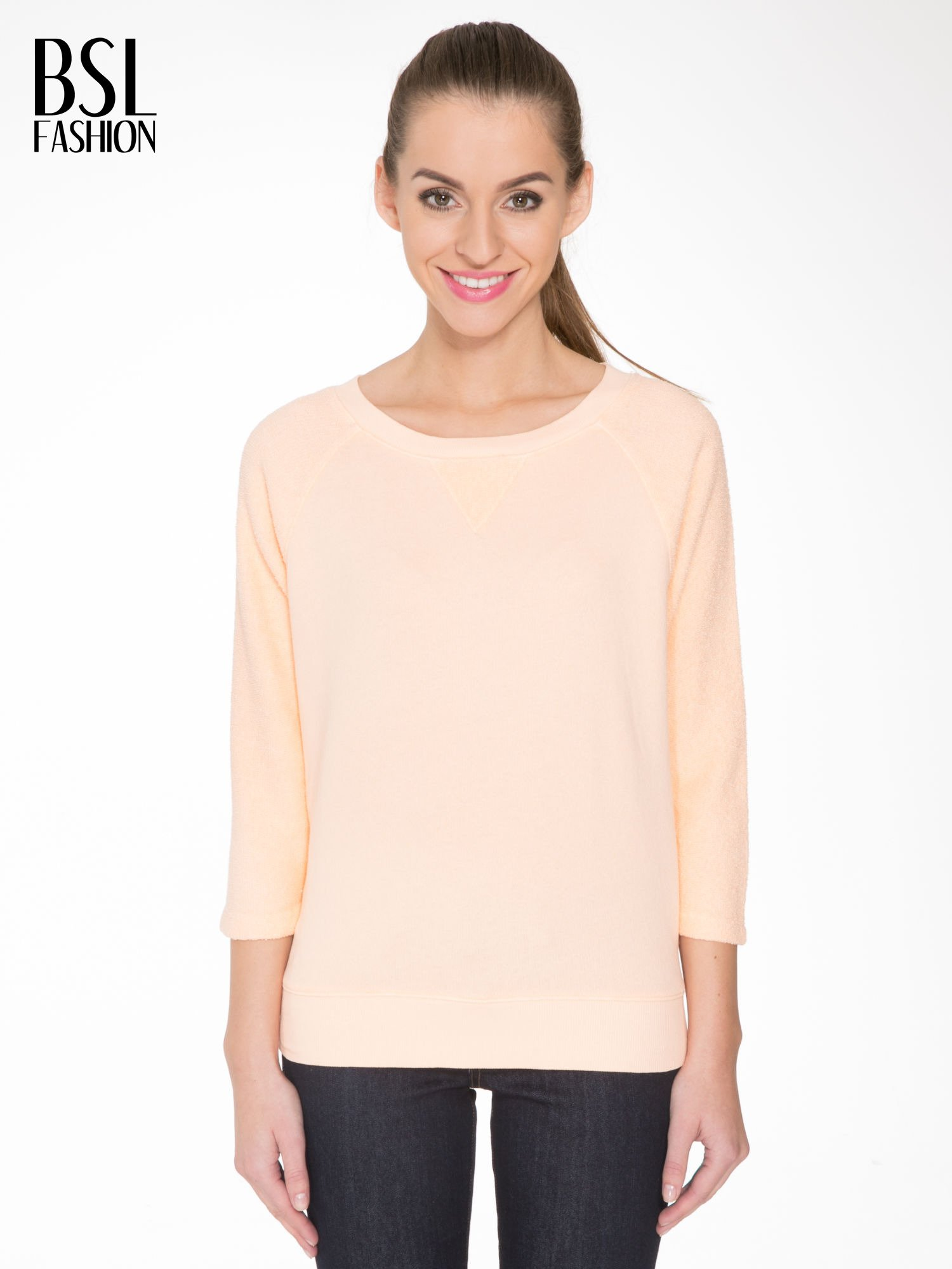 Łososiowa bluza oversize z łączonych materiałów                                  zdj.                                  1