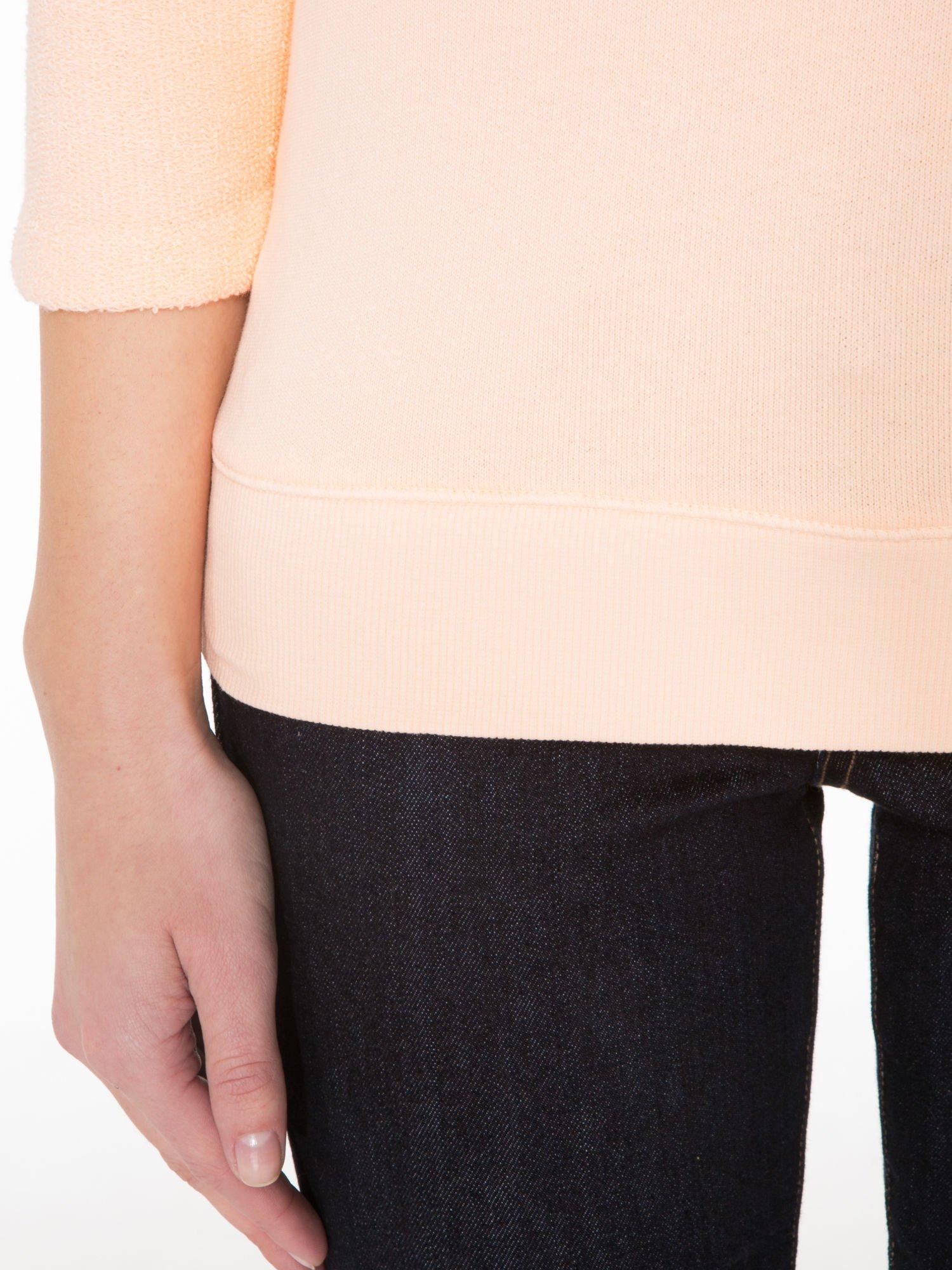 Łososiowa bluza oversize z łączonych materiałów                                  zdj.                                  6