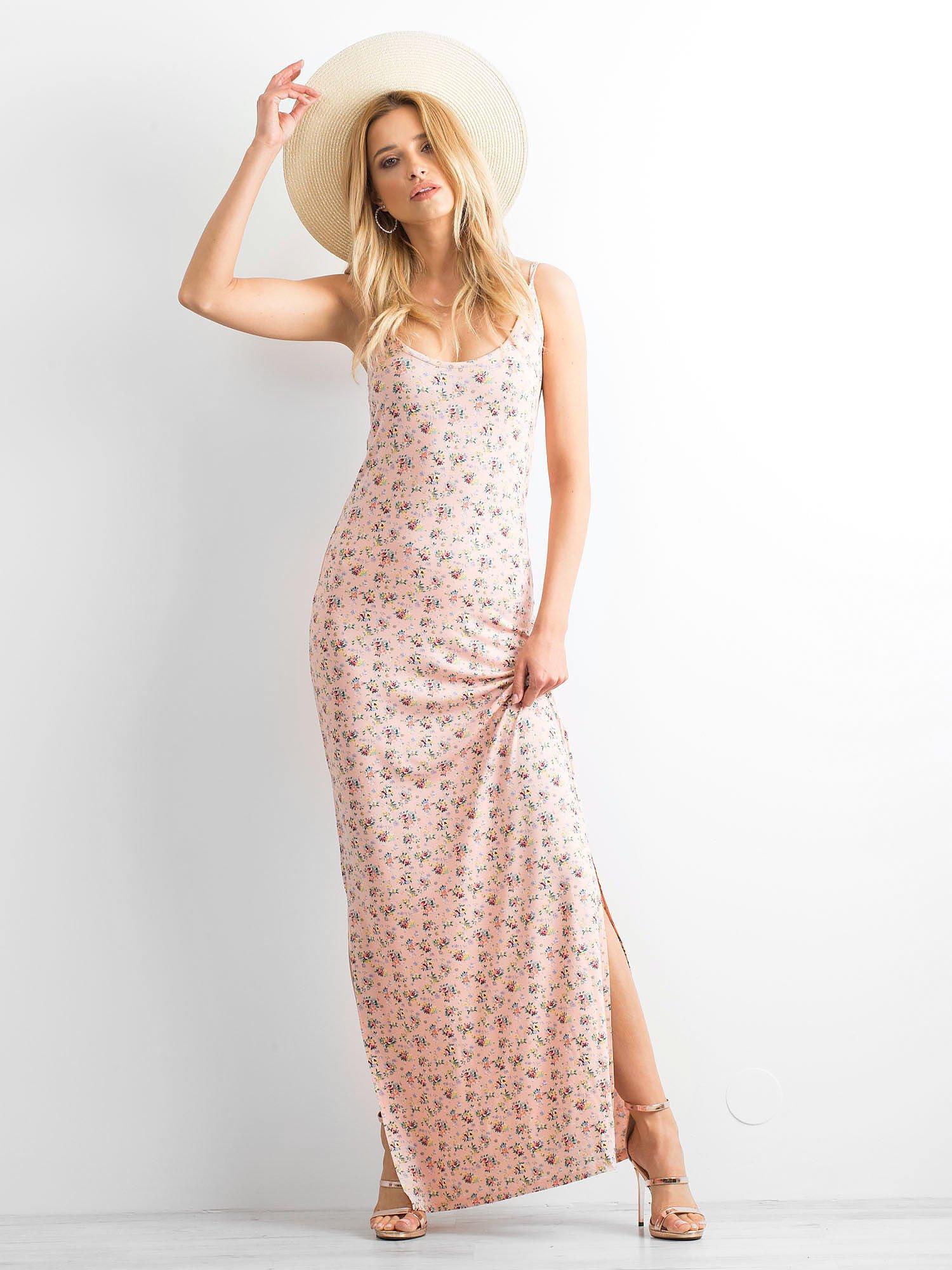 Łososiowa sukienka maxi na ramiączkach w łączkę                                  zdj.                                  8