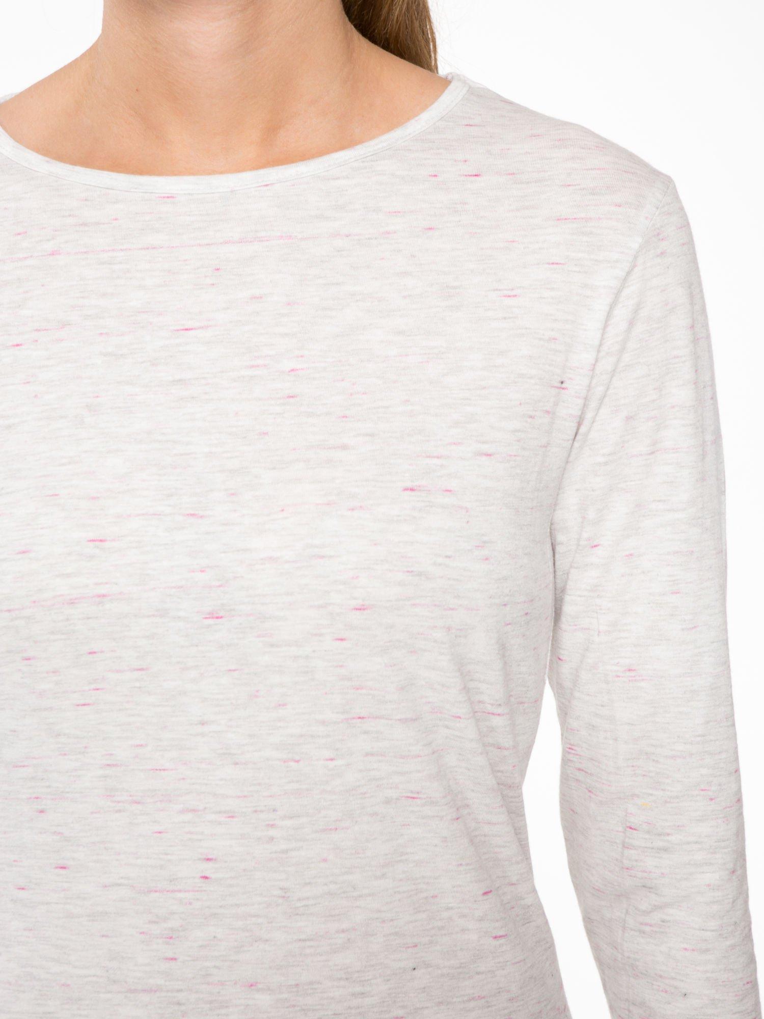 Melanżoworóżowa bawełniana bluzka typu basic z długim rękawem                                  zdj.                                  5