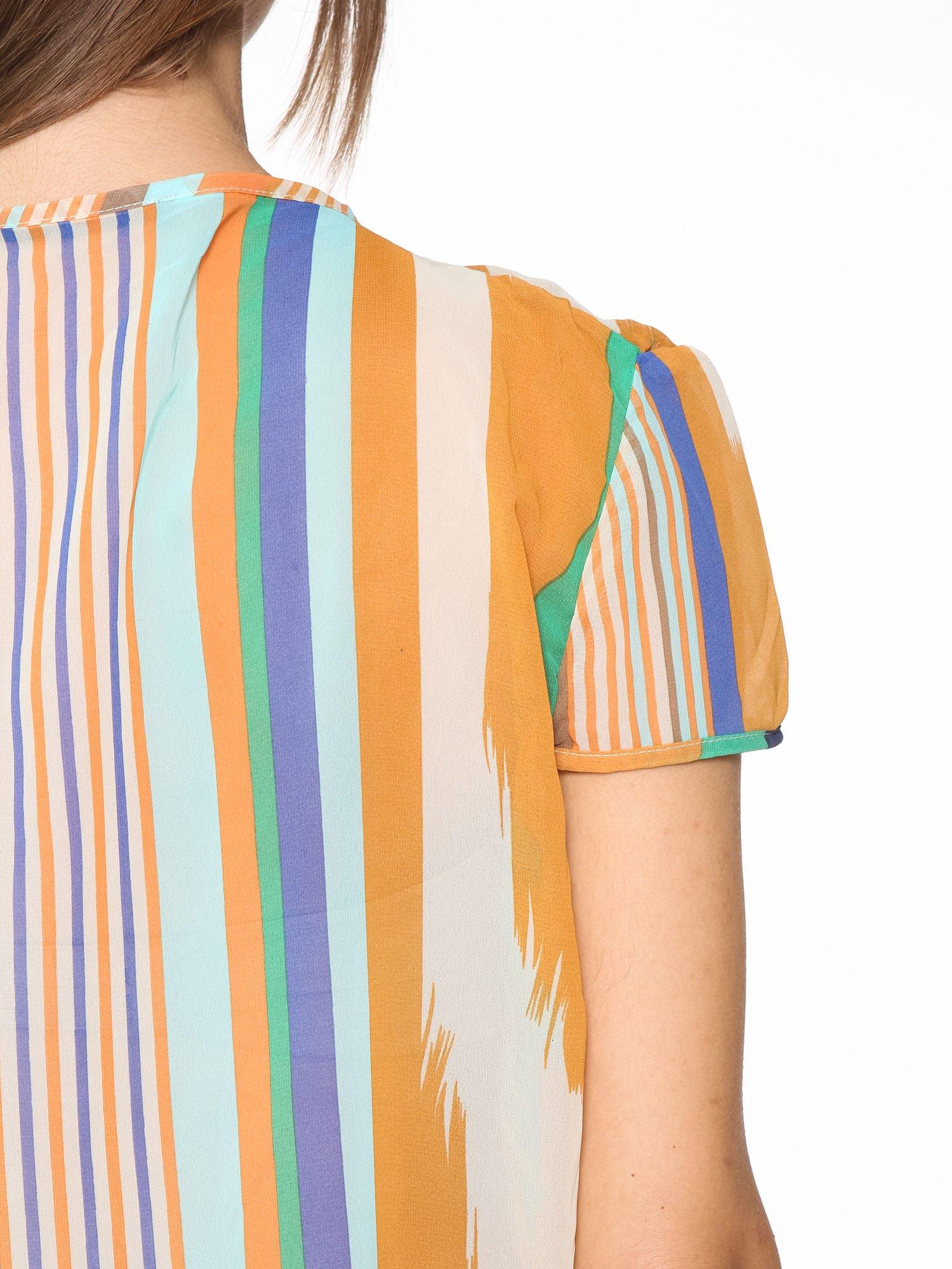 Miętowa bluzka mgiełka w nieregularne paski                                  zdj.                                  10
