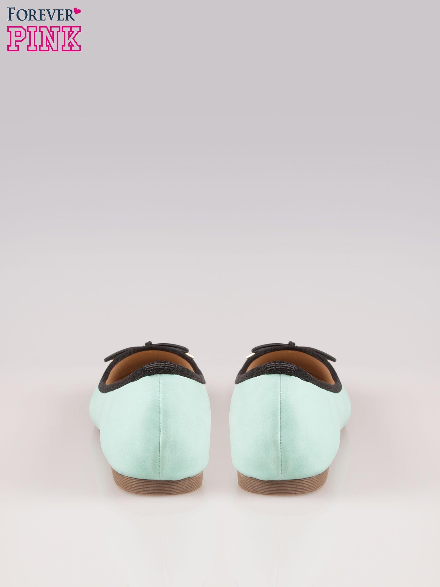 Miętowe balerinki faux leather Amber z ozdobną kokardką                                  zdj.                                  3