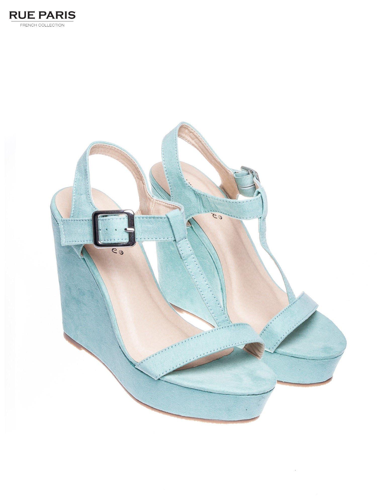 Miętowe zamszowe sandały t-bary na koturnie                                  zdj.                                  2