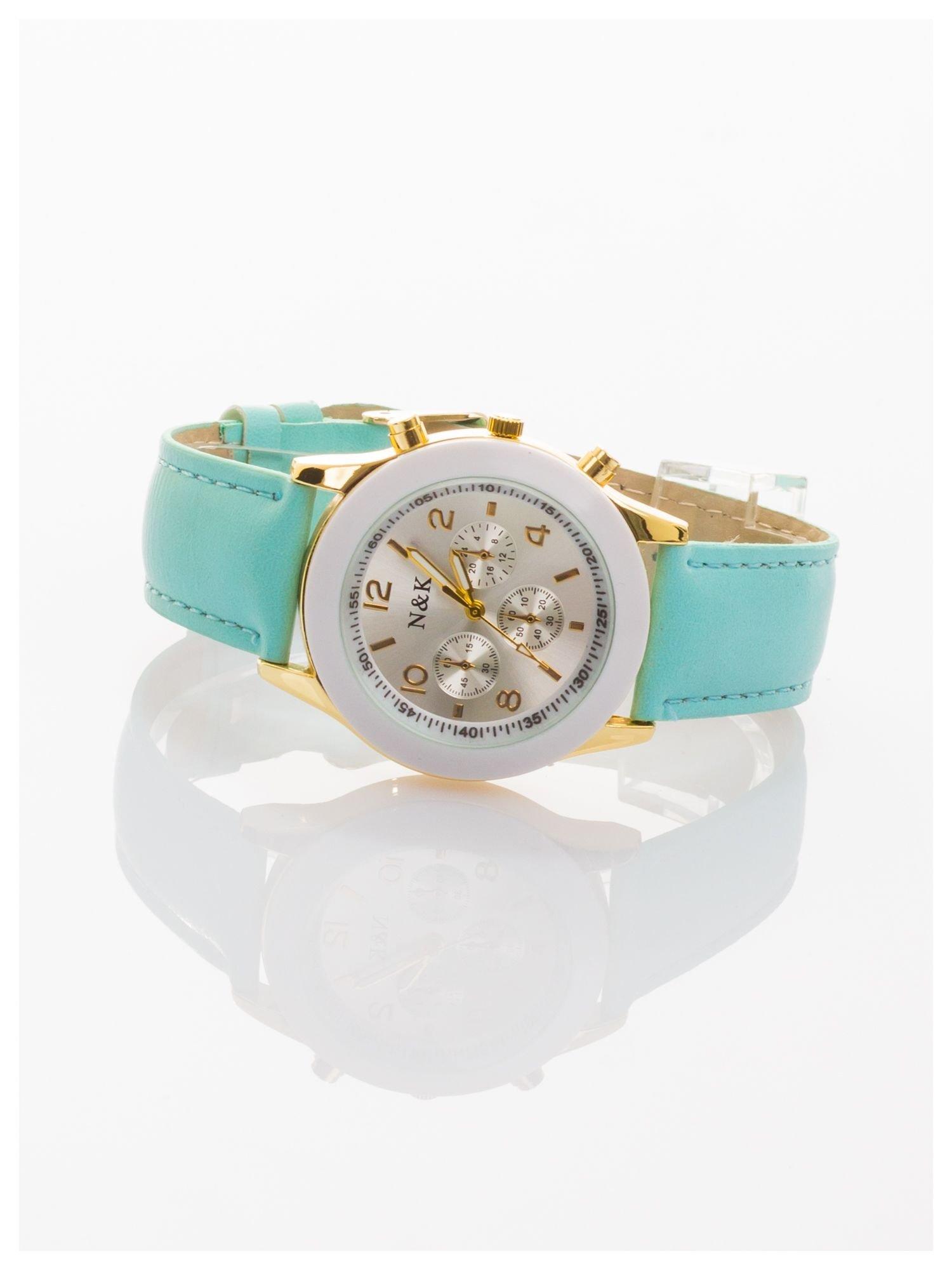 Miętowy damski zegarek z ozdobnym tachometrem                                  zdj.                                  2