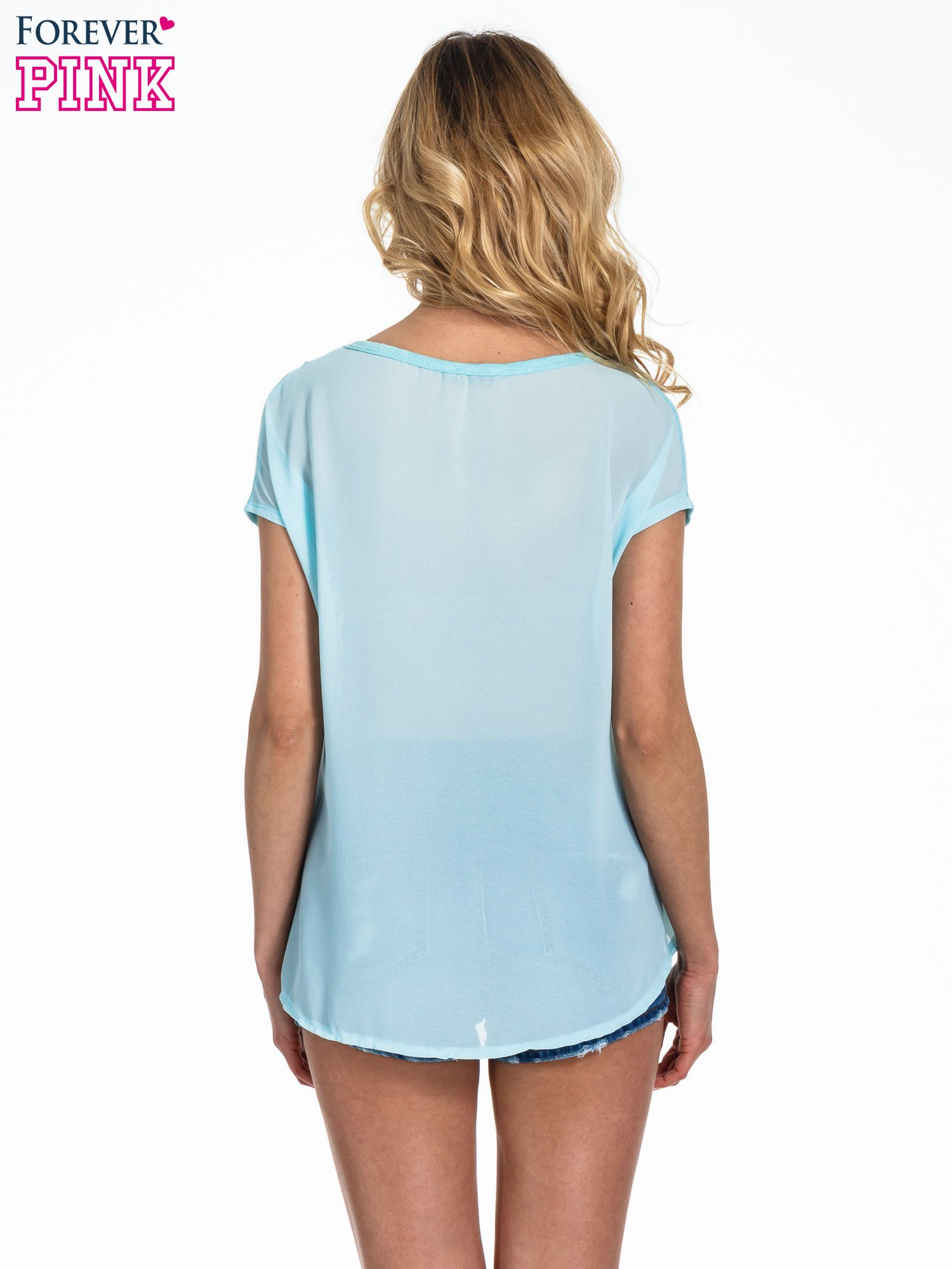 Miętowy t-shirt z kryształkami                                  zdj.                                  4