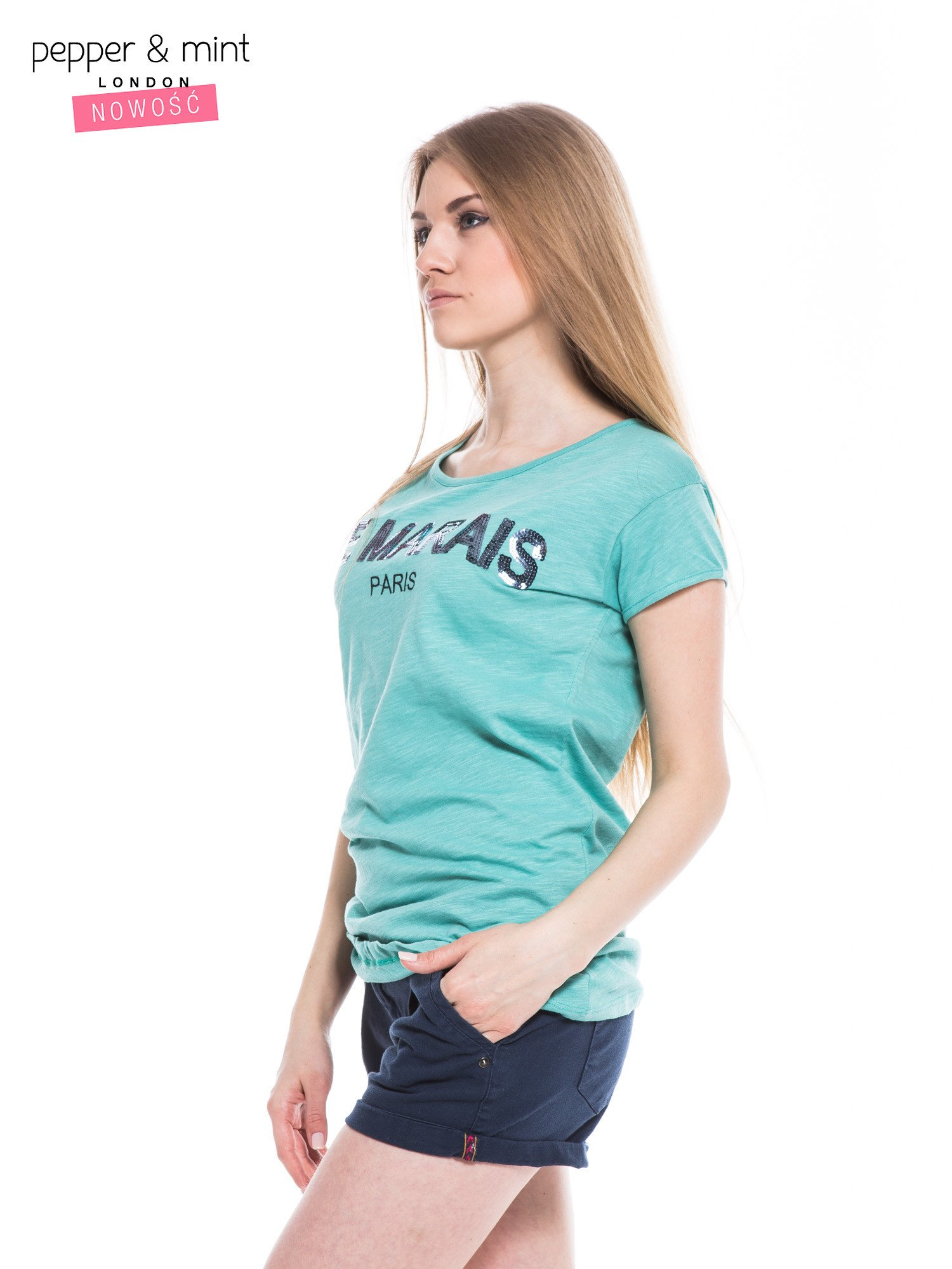 Miętowy t-shirt z nadrukiem LE MARAIS                                  zdj.                                  3