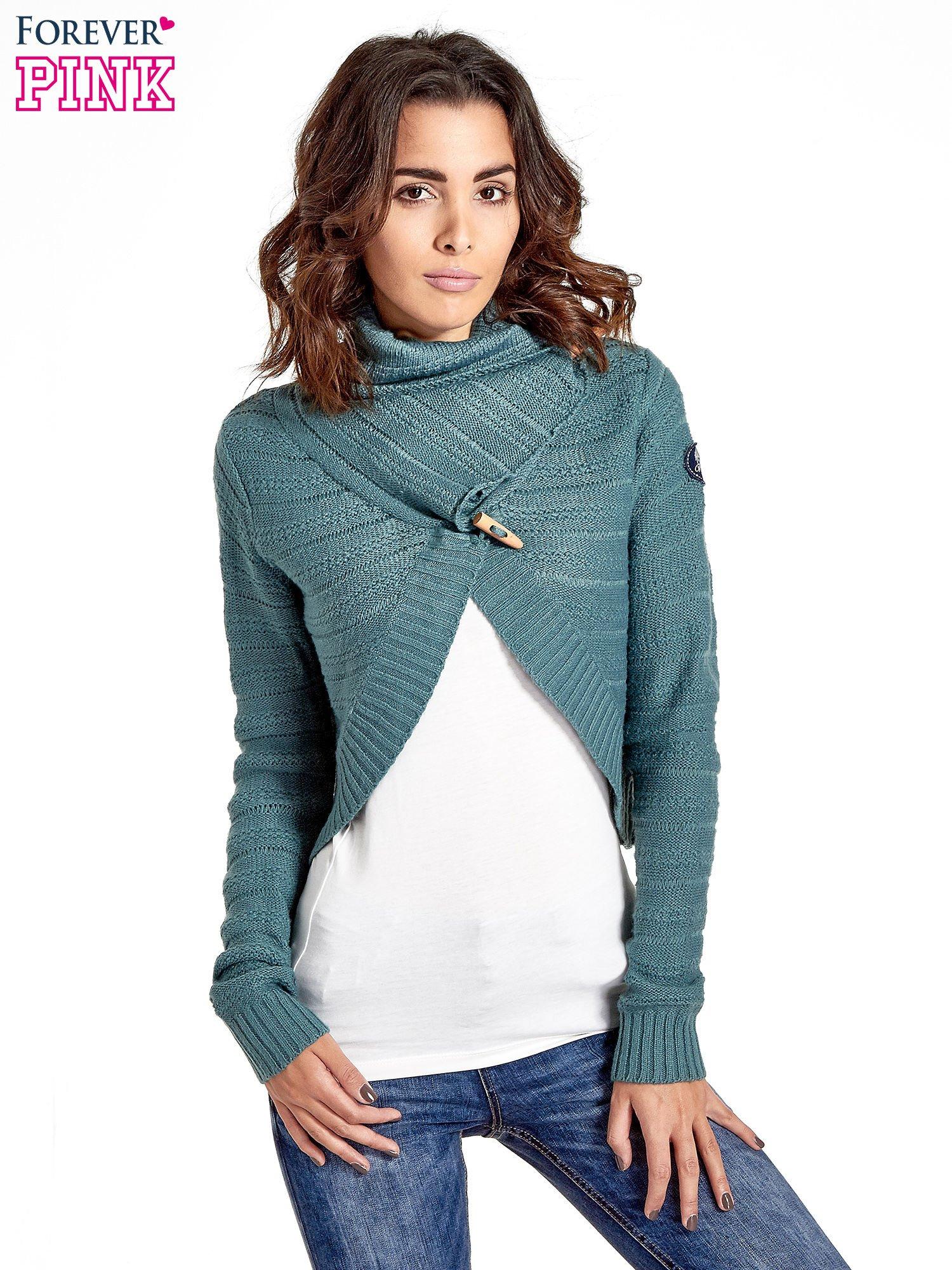 Morski krótki sweter narzutka z kołnierzem                                  zdj.                                  1