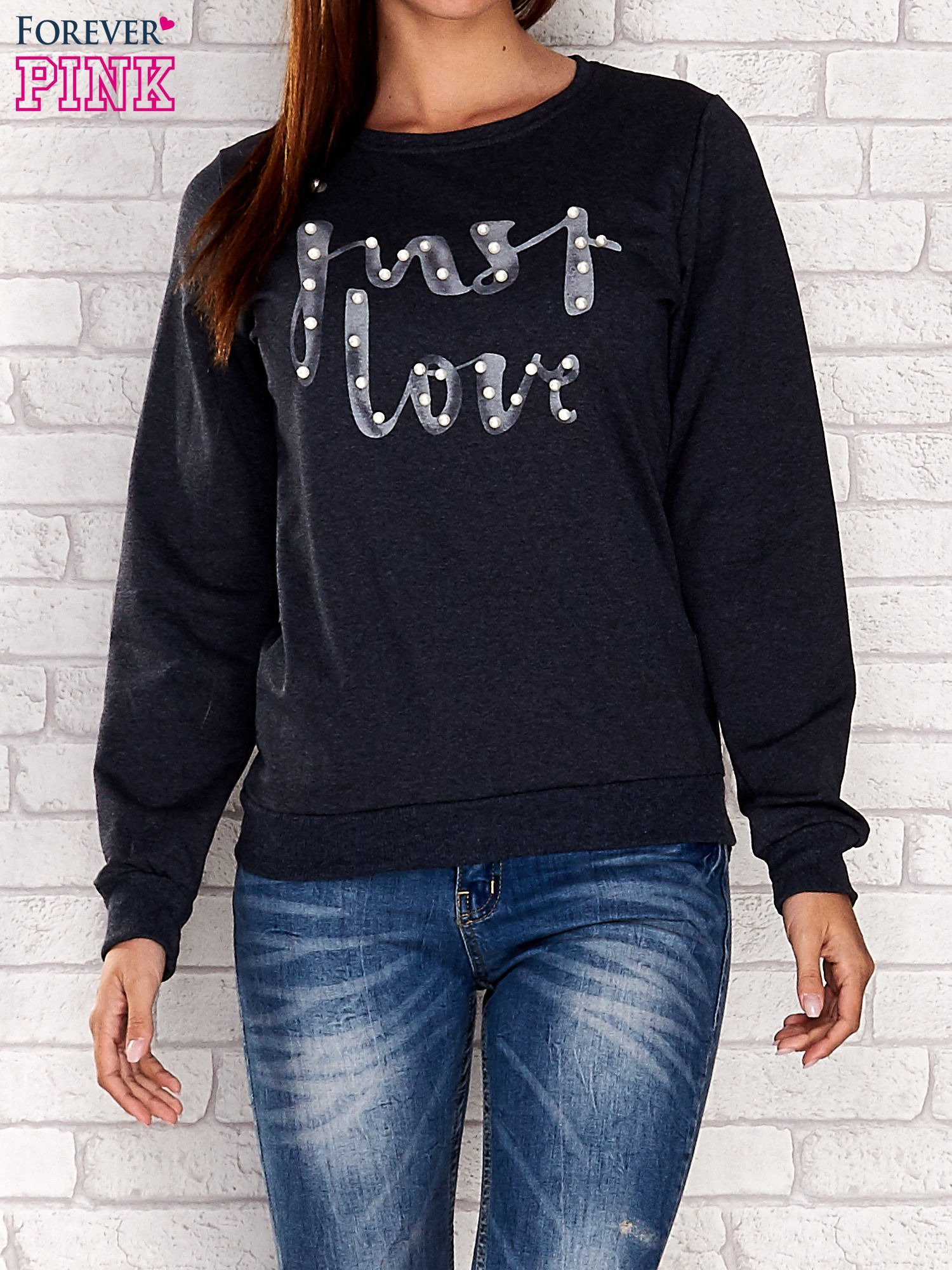 NIebieska bluza z napisem JUST LOVE i perełkami                                  zdj.                                  1