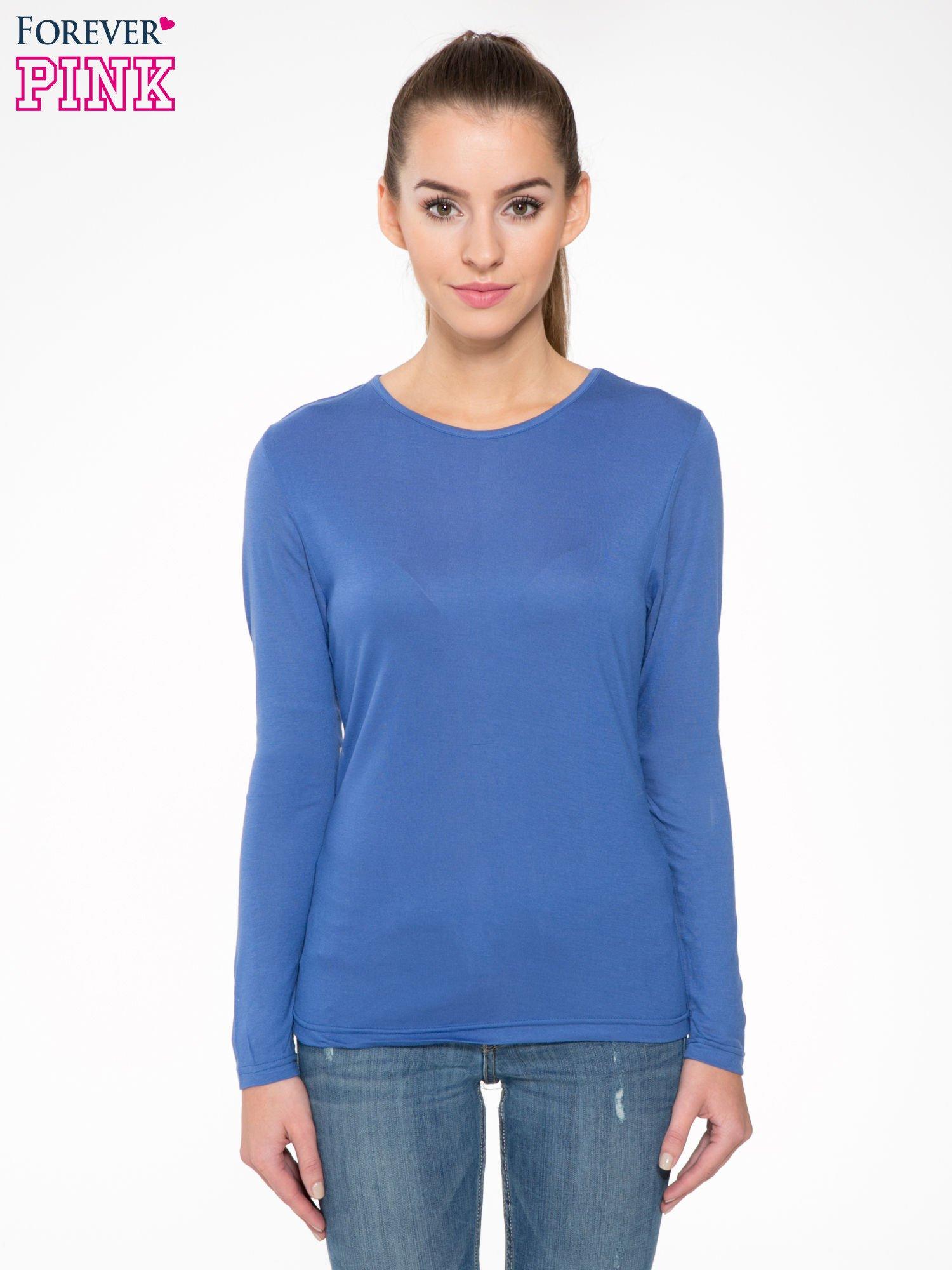 Niebieska bawełniana bluzka typu basic z długim rękawem                                  zdj.                                  1