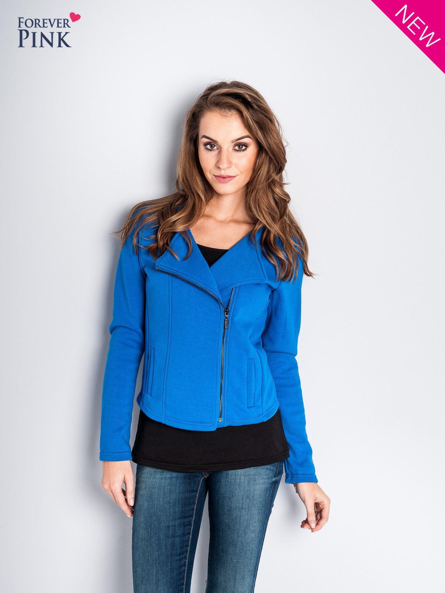 Niebieska bluza o kroju ramoneski z asymetrycznym suwakiem                                  zdj.                                  1