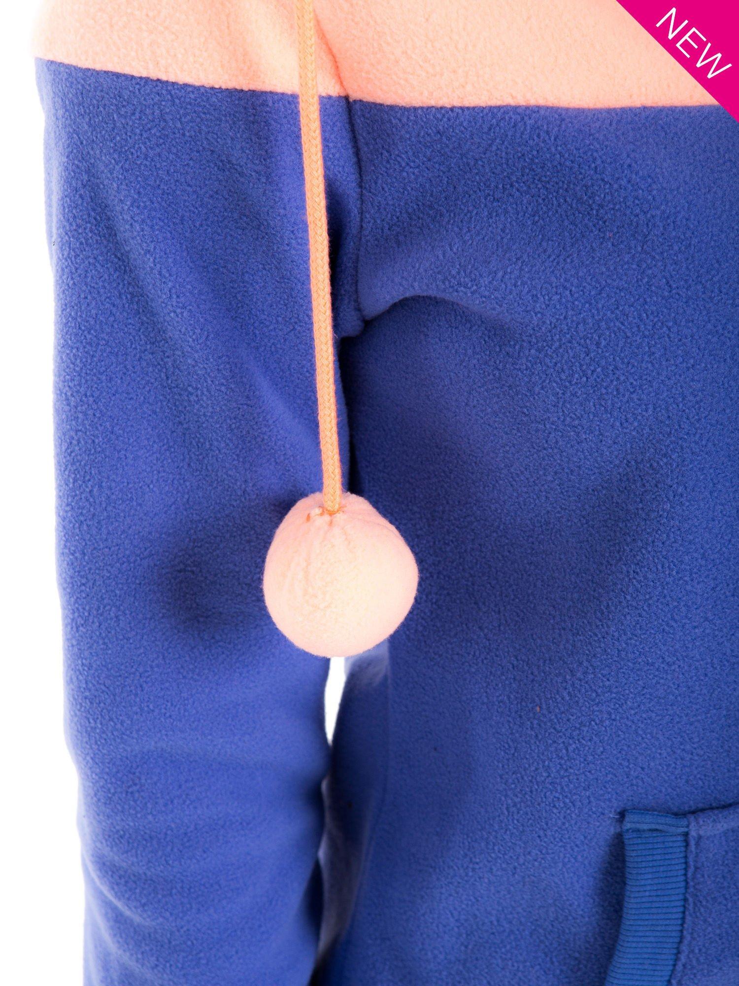 Niebieska bluza polarowa z kapturem z uszkami                                  zdj.                                  8