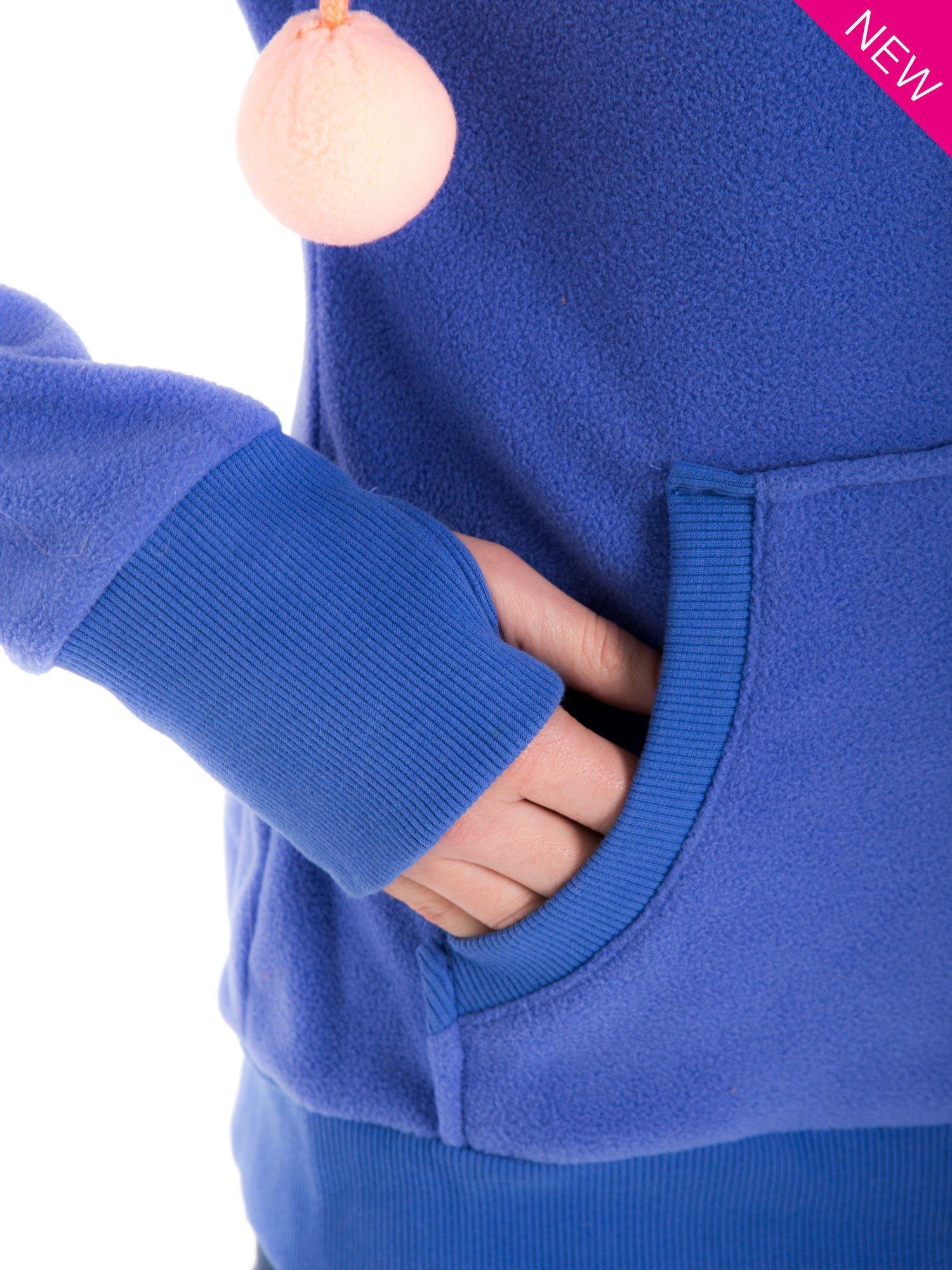 Niebieska bluza polarowa z kapturem z uszkami                                  zdj.                                  9