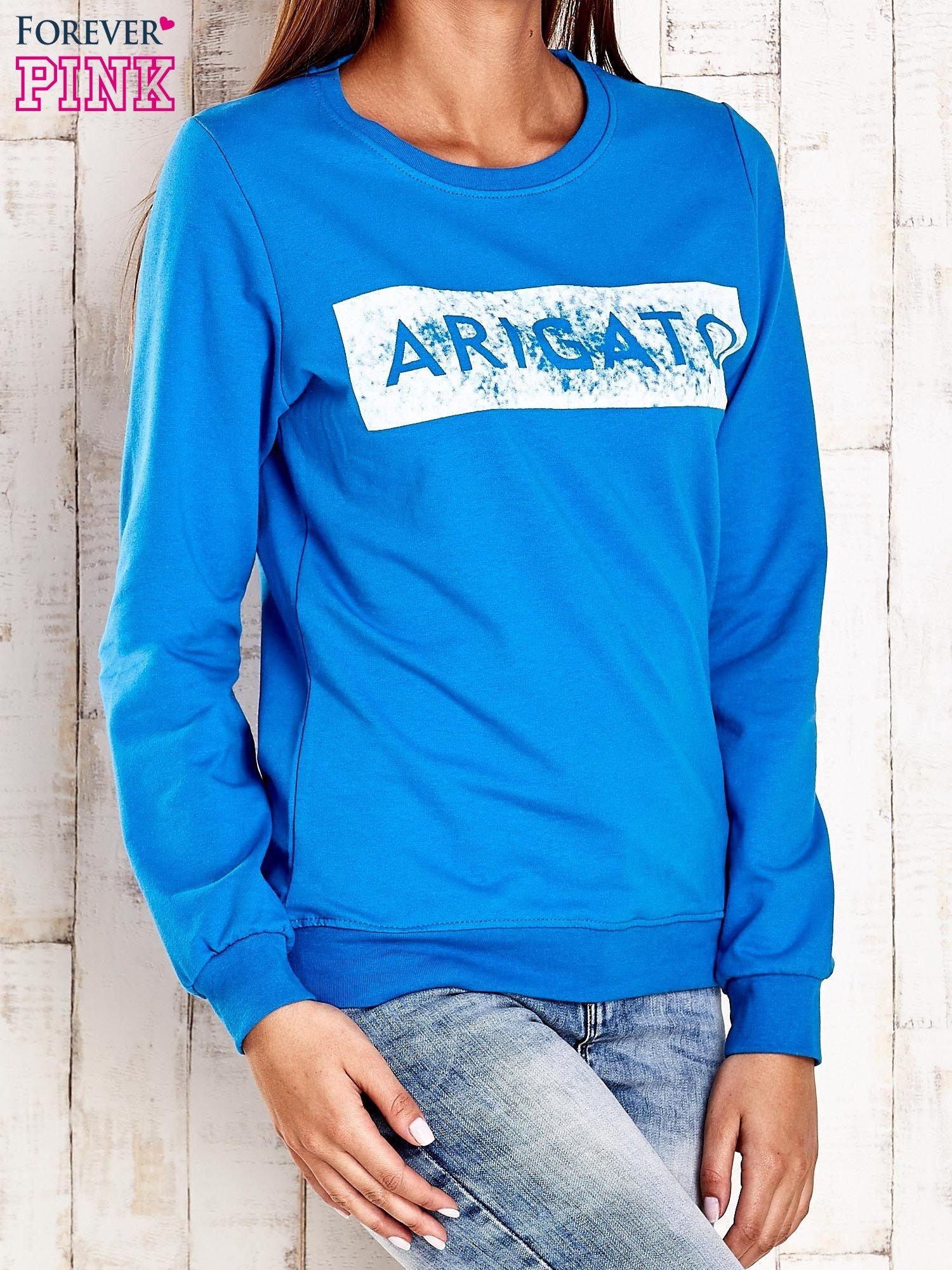 Niebieska bluza z napisem ARIGATO                                  zdj.                                  1