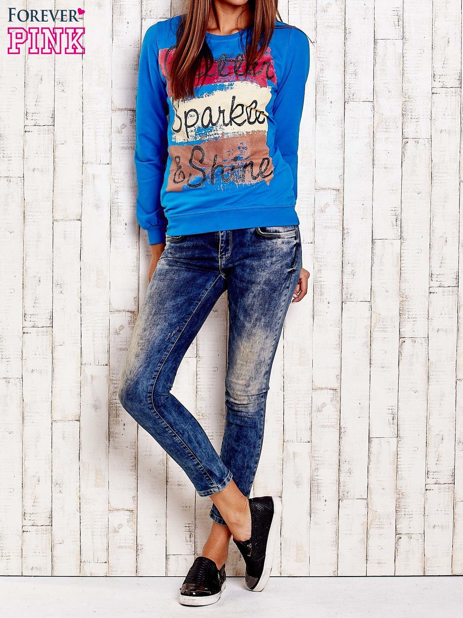 Niebieska bluza z napisem GLITTER SPARKLE SHINE                                  zdj.                                  2