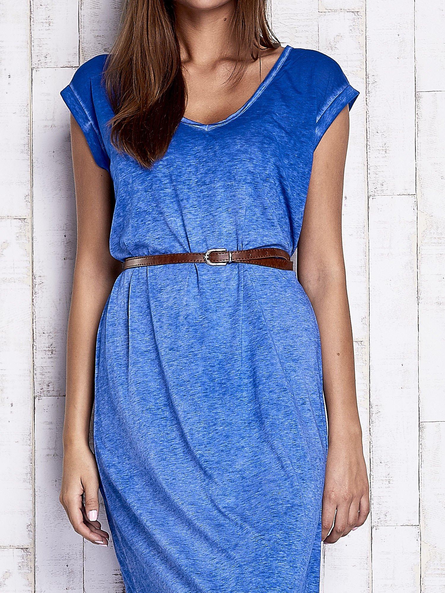 Niebieska dekatyzowana sukienka maxi                                  zdj.                                  5