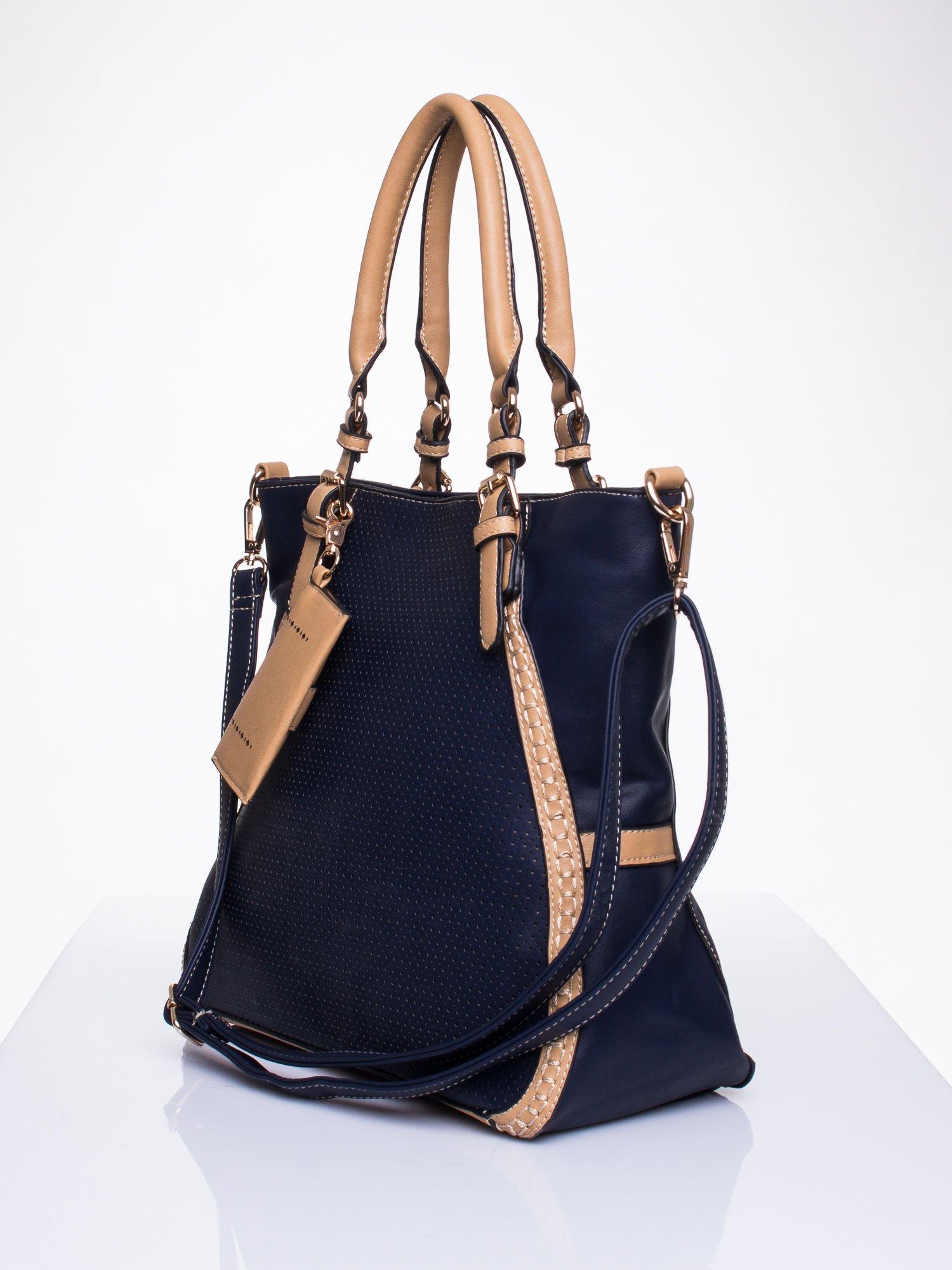 Niebieska dziurkowana torba shopper z portfelem                                  zdj.                                  3