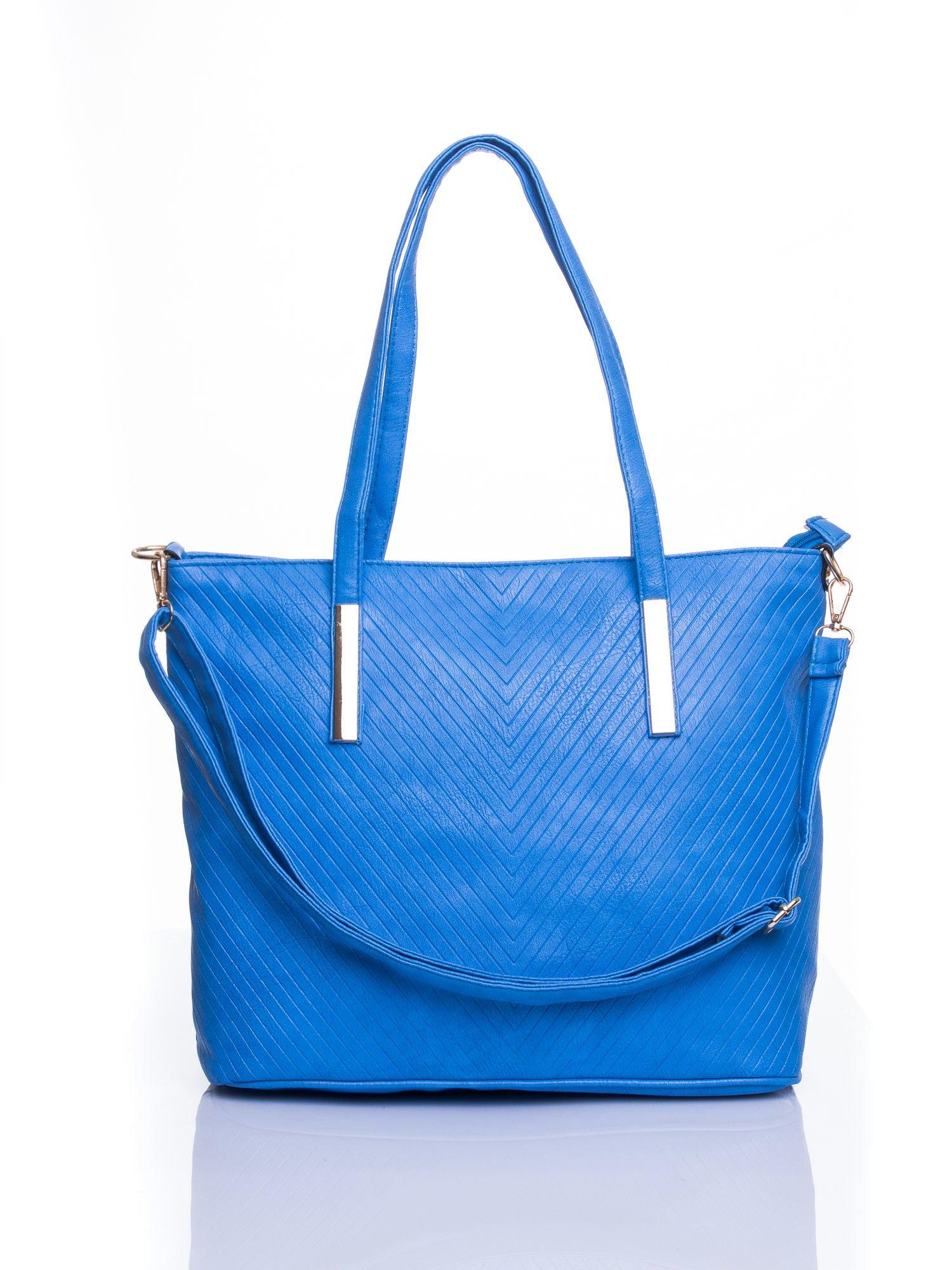 Niebieska fakturowana torba shopper bag                                  zdj.                                  1