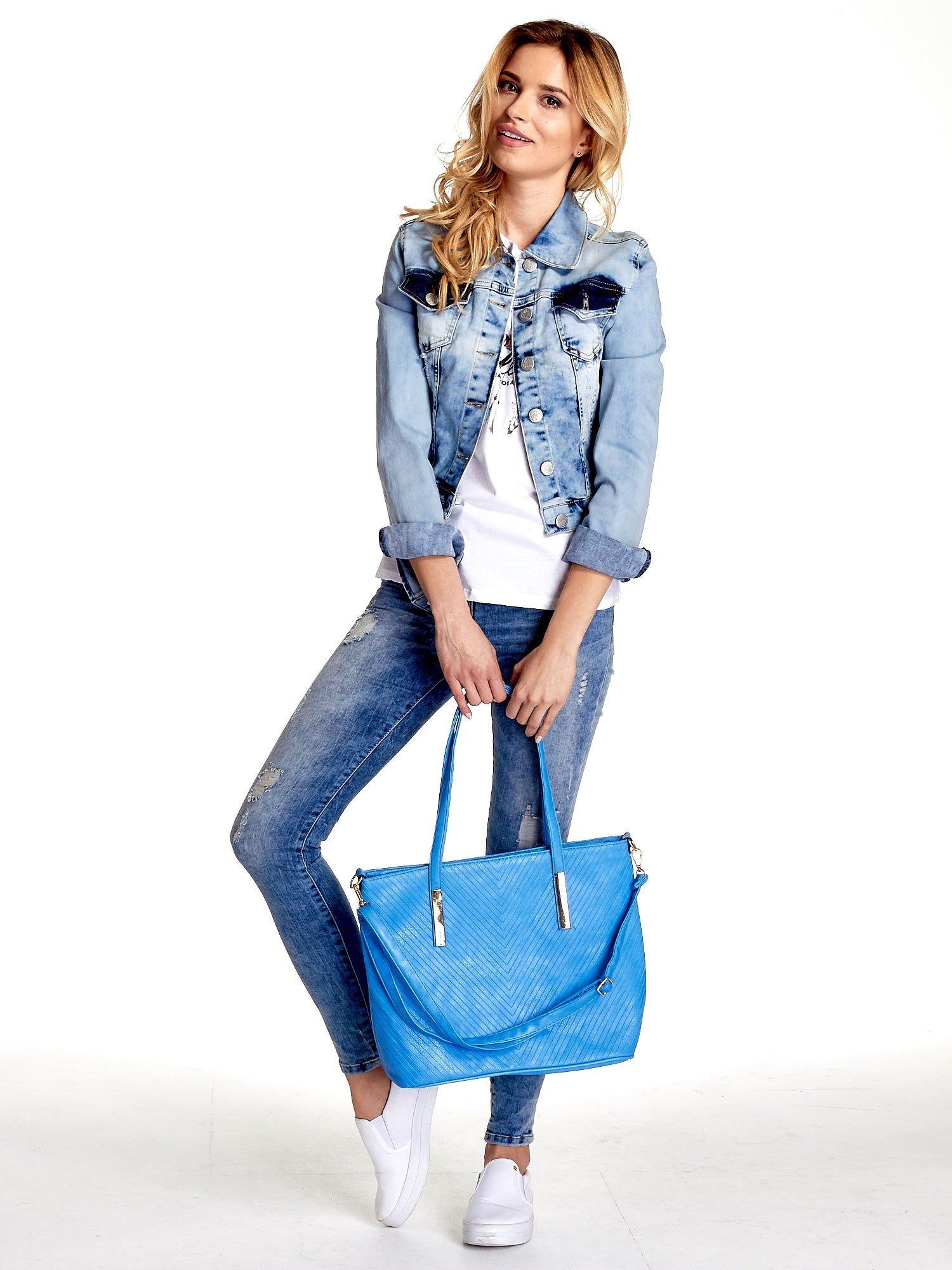 Niebieska fakturowana torba shopper bag                                  zdj.                                  2