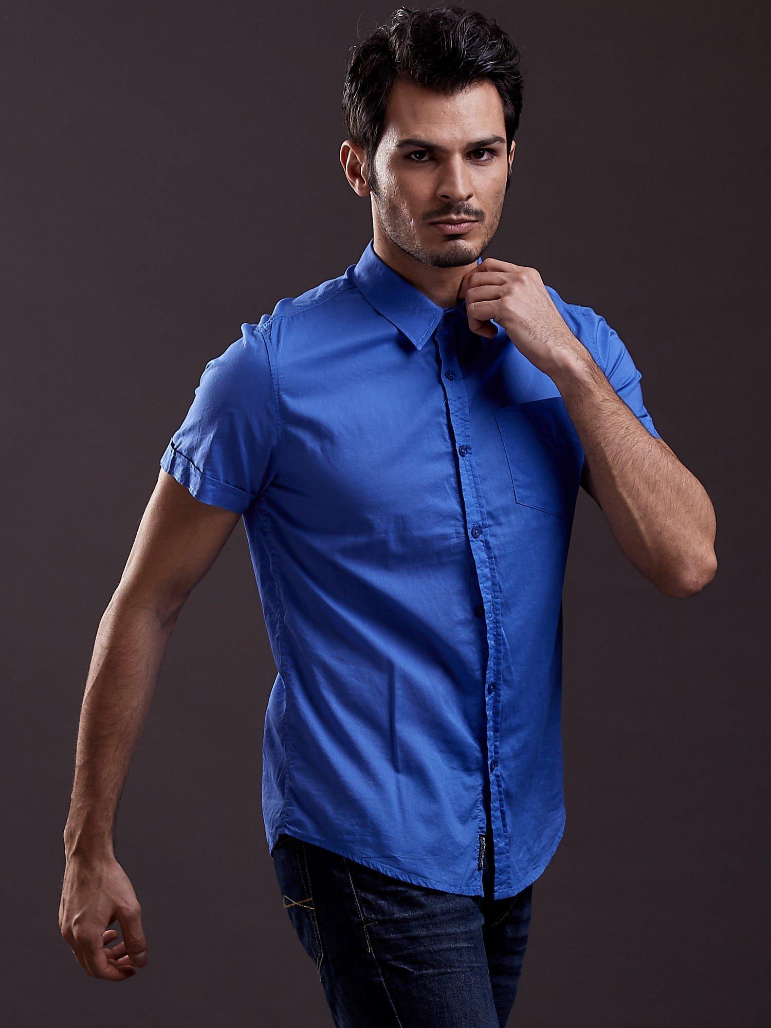 Niebieska gładka koszula męska Funk n Soul                                  zdj.                                  2